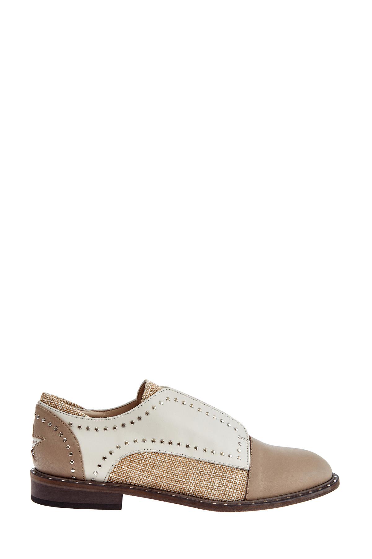 Ботинки из льна и кожи с отделкой заклепками в стиле вестерн фото