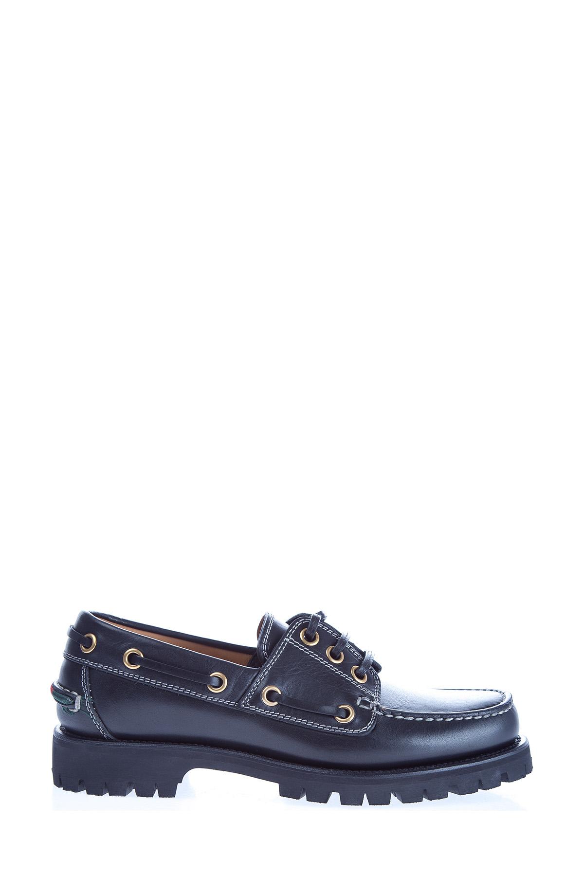 Купить Ботинки с массивной подошвой с тракторным протектором, шнуровкой и контрастной прострочкой, GUCCI, Италия, кожа 100%