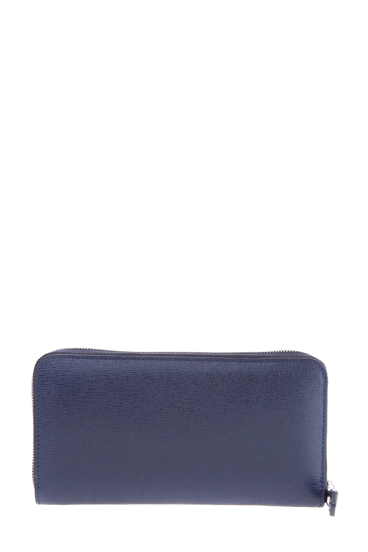 Купить Вместительное портмоне из сафьяновой кожи синего цвета, CANALI, Италия, кожа 100%