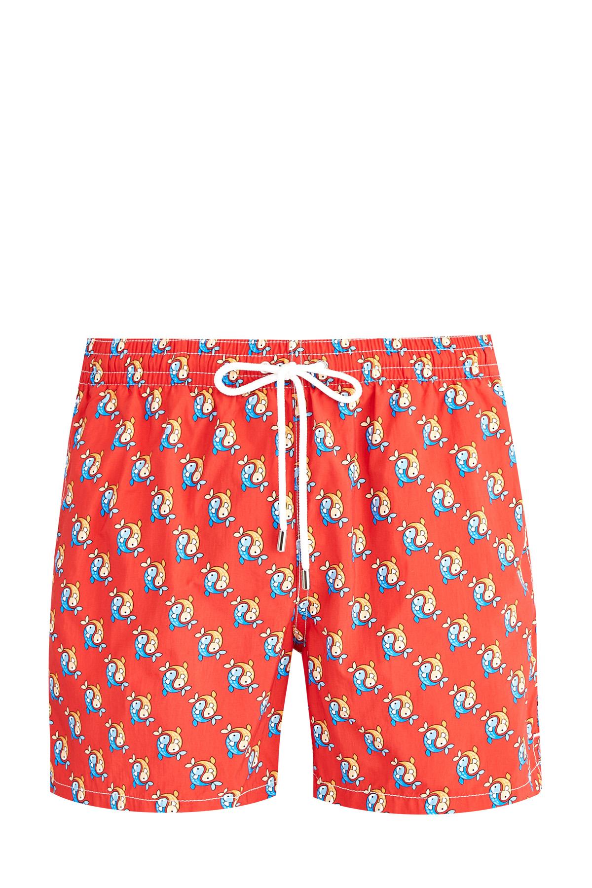 Яркие плавательные шорты из легкого нейлона с принтом