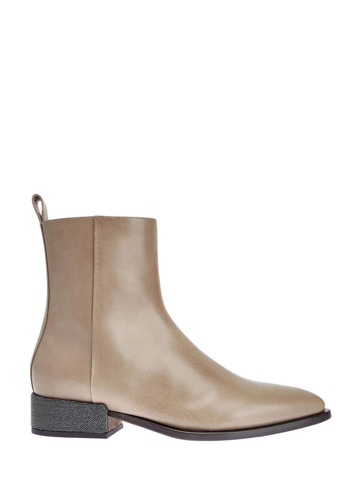 Ботинки из кожи теленка с цепочкой Мониль на каблуке