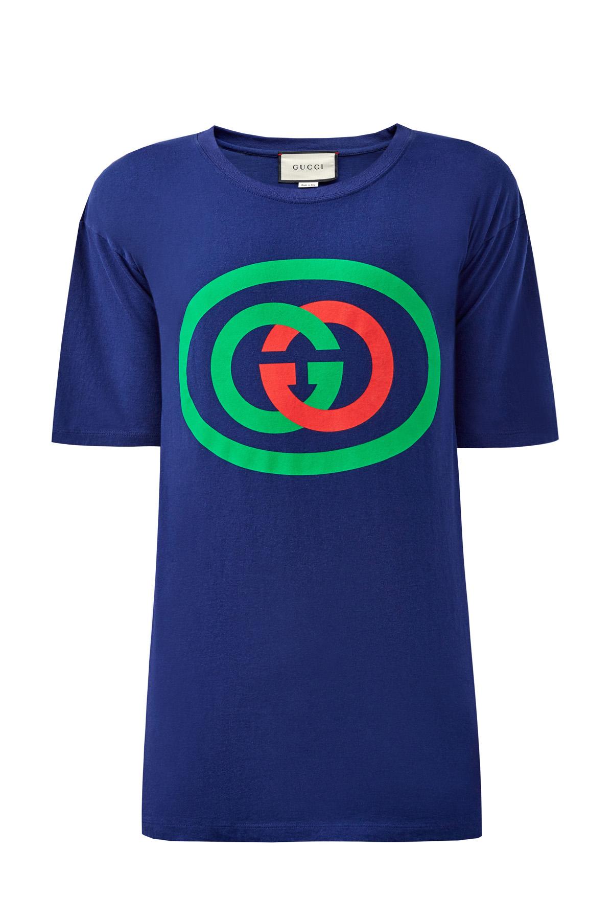Хлопковая футболка с макро-логотипом фото