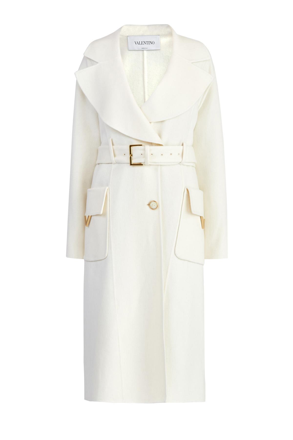 Купить со скидкой Пальто из двухслойной кашемировой ткани с литыми деталями V