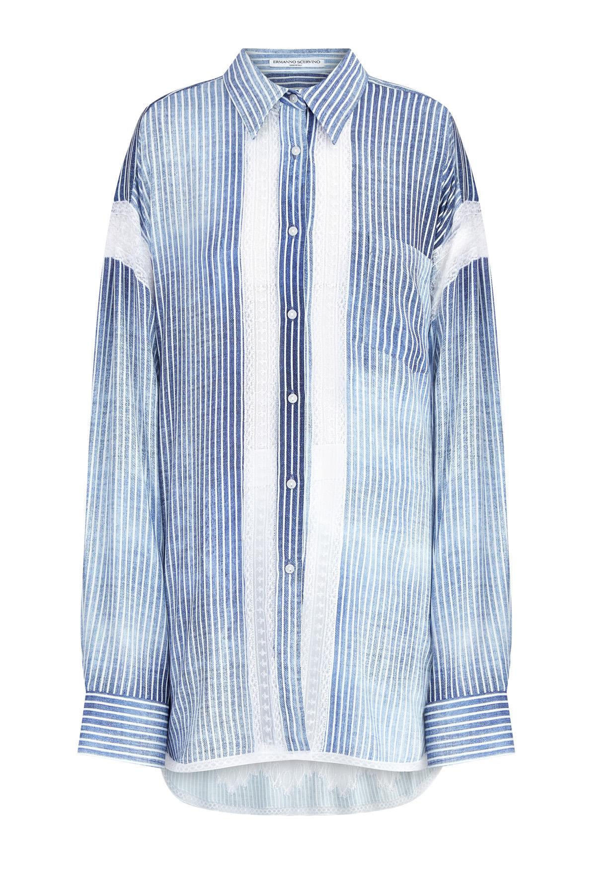 Купить со скидкой Oversize-рубашка из ткани марокен с отделкой кружевом ручной работы