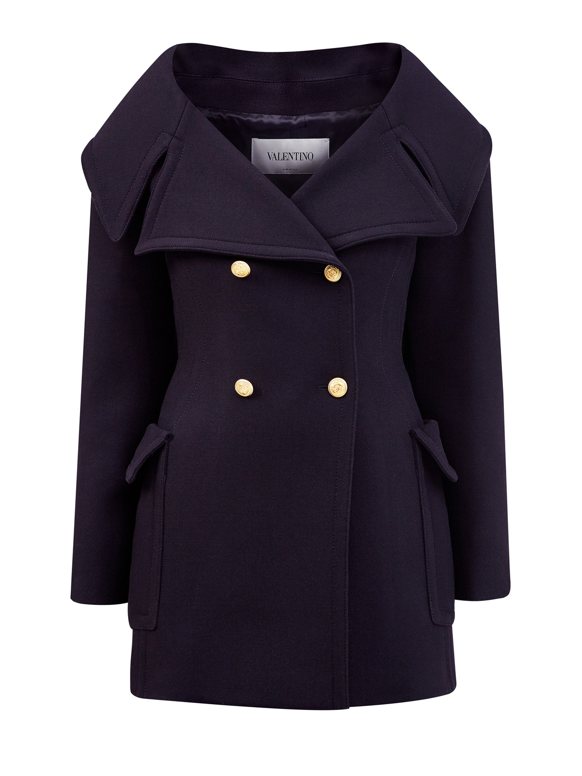 Пальто-бушлат из шерстяного драпа в стиле милитари