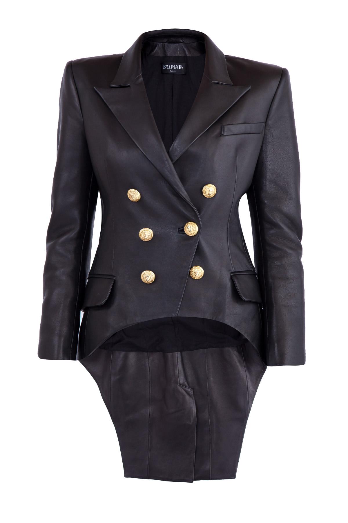 Купить со скидкой Кожаная куртка с двубортной застежкой и асимметричным низом