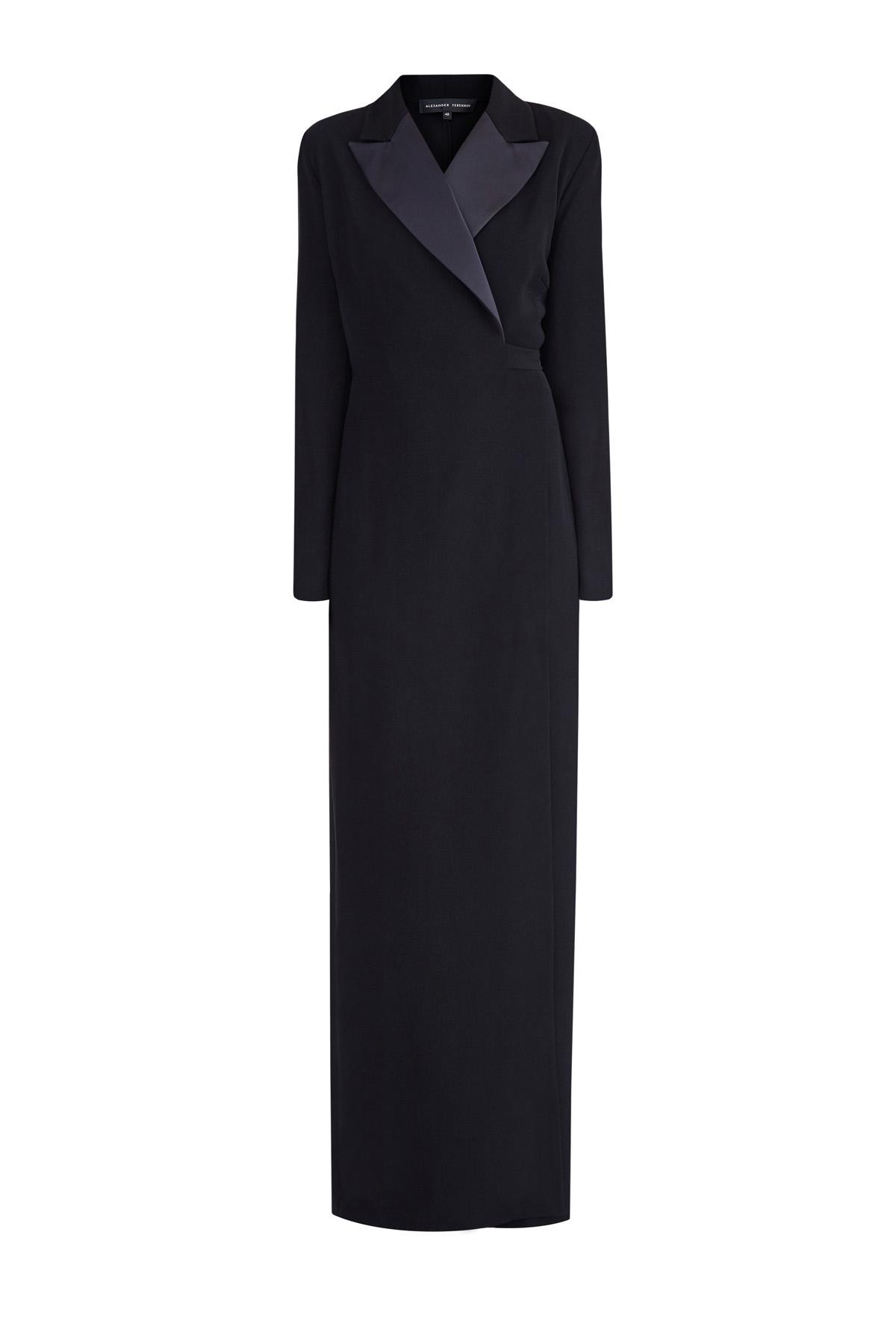 Купить Длинное платье-смокинг на запах с атласными лацканами, ALEXANDER TEREKHOV, Россия, полиэстер 100%