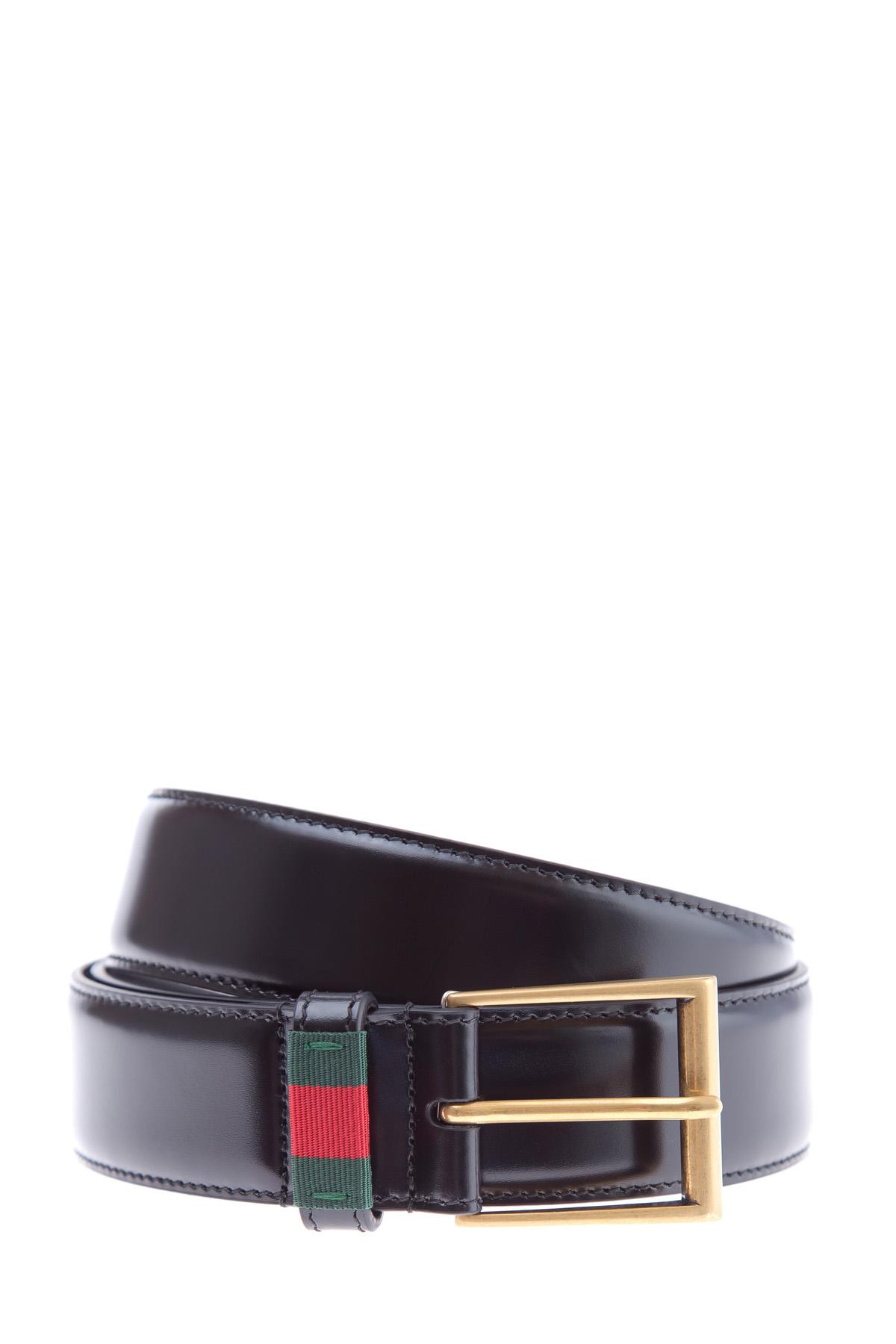 Купить со скидкой Ремень из кожи черного цвета с текстильной вставкой в фирменной гамме Web