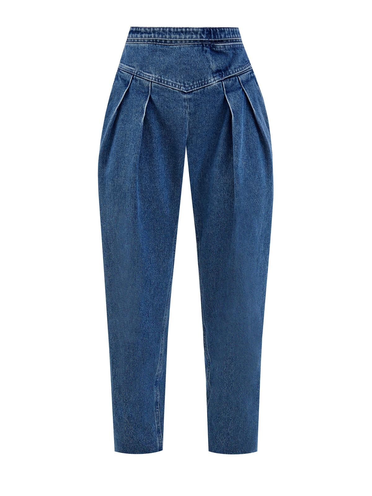 Высокие джинсы из денима с эффектом тай-дай