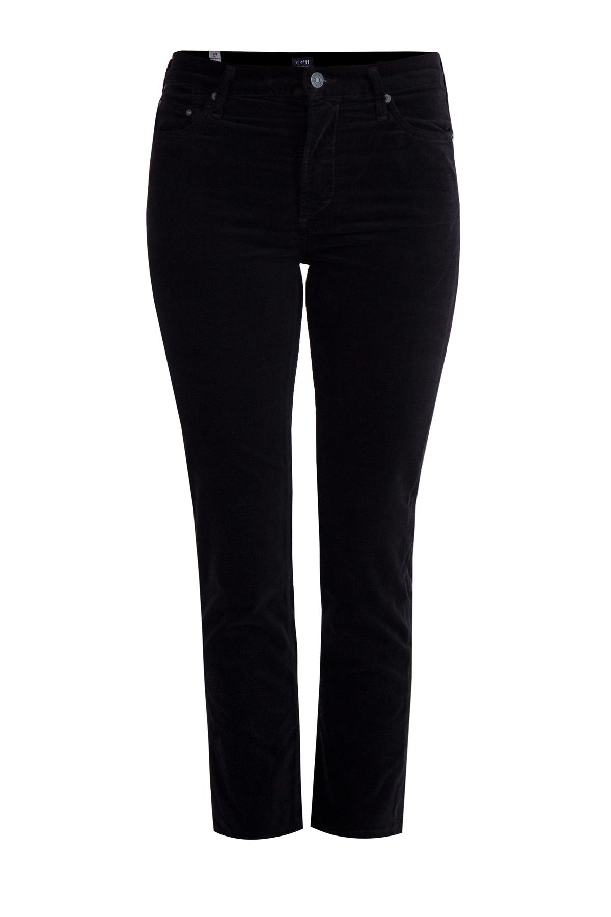 Зауженные джинсы «Cara» из плотного фирменного денима черного цвета фото