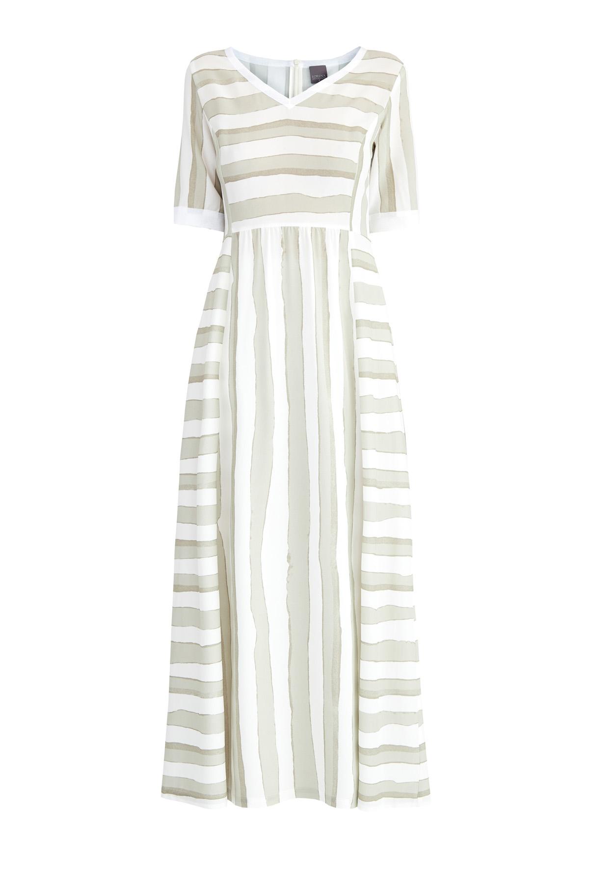 Купить Струящееся платье-макси с принтом в полоску в натуральных тонах, LORENA ANTONIAZZI, Италия, вискоза 95%, эластан 5%