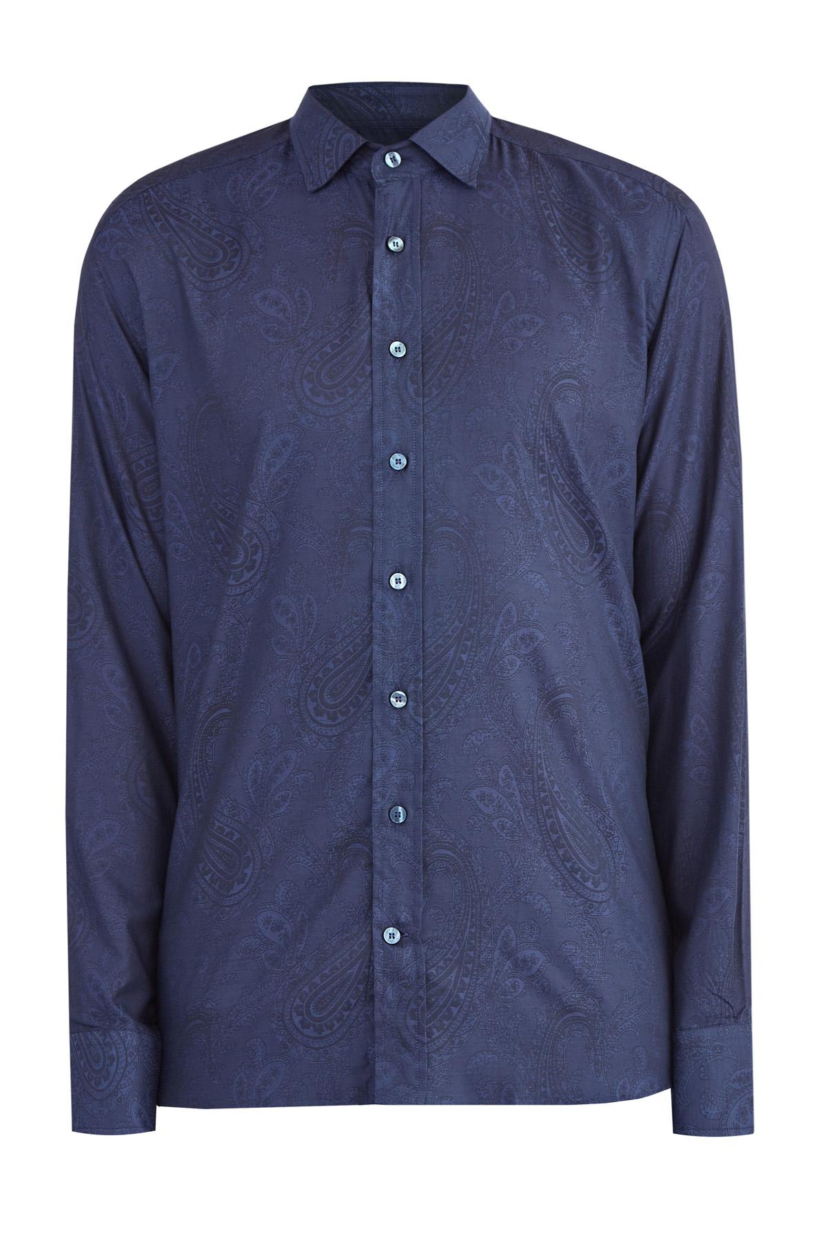 Приталенная хлопковая рубашка с этническим принтом фото