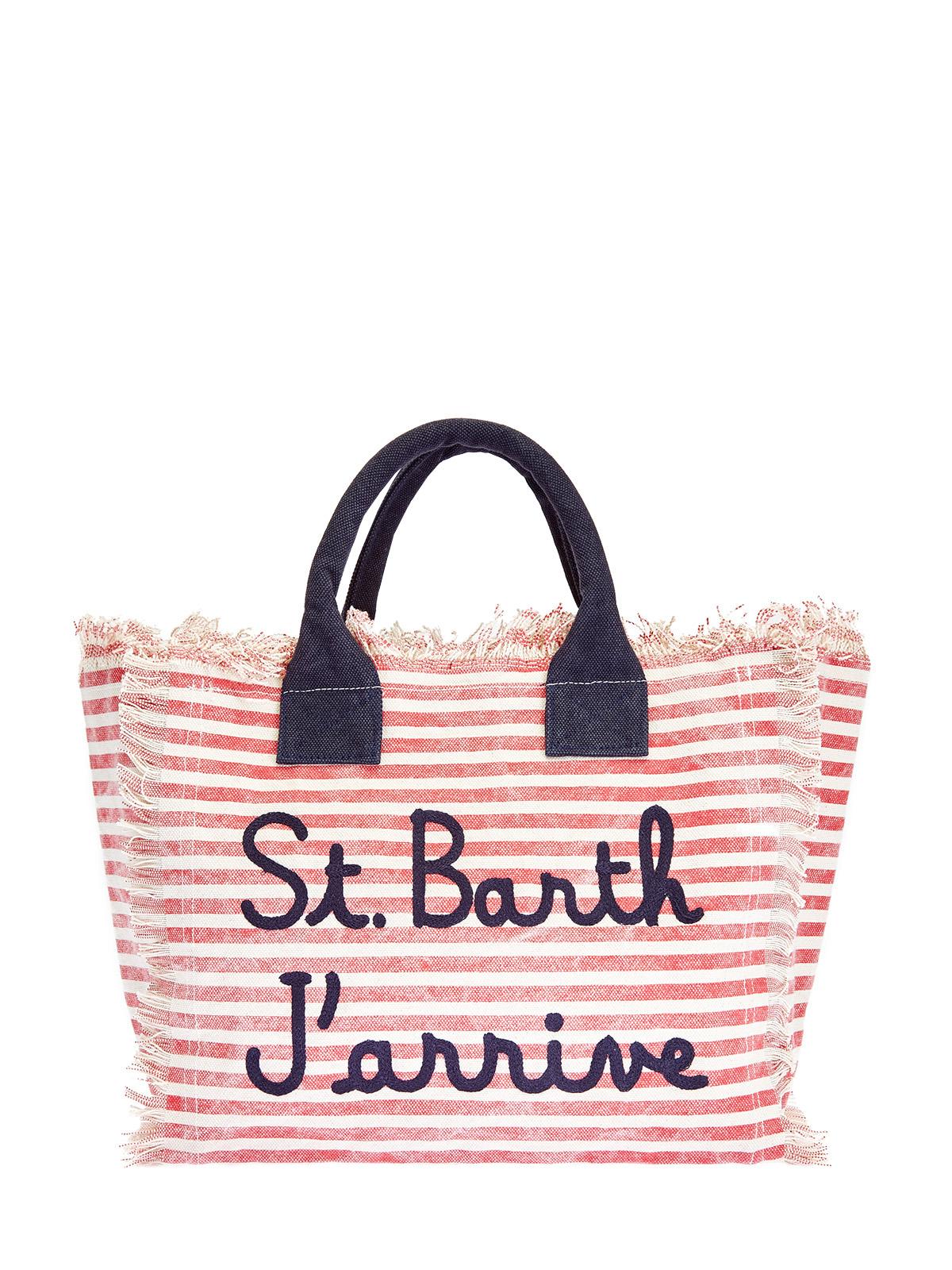 Текстурированная сумка в полоску с вышивкой и бахромой