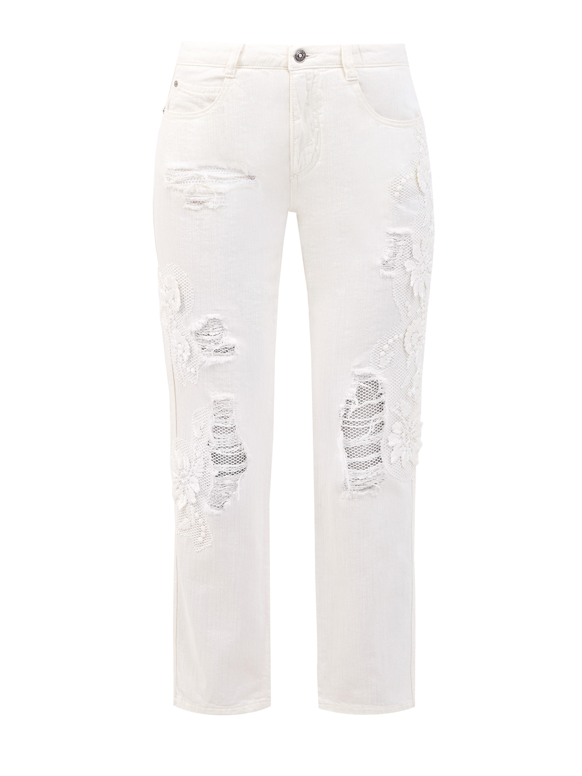 Укороченные джинсы с кружевной вышивкой ручной работы