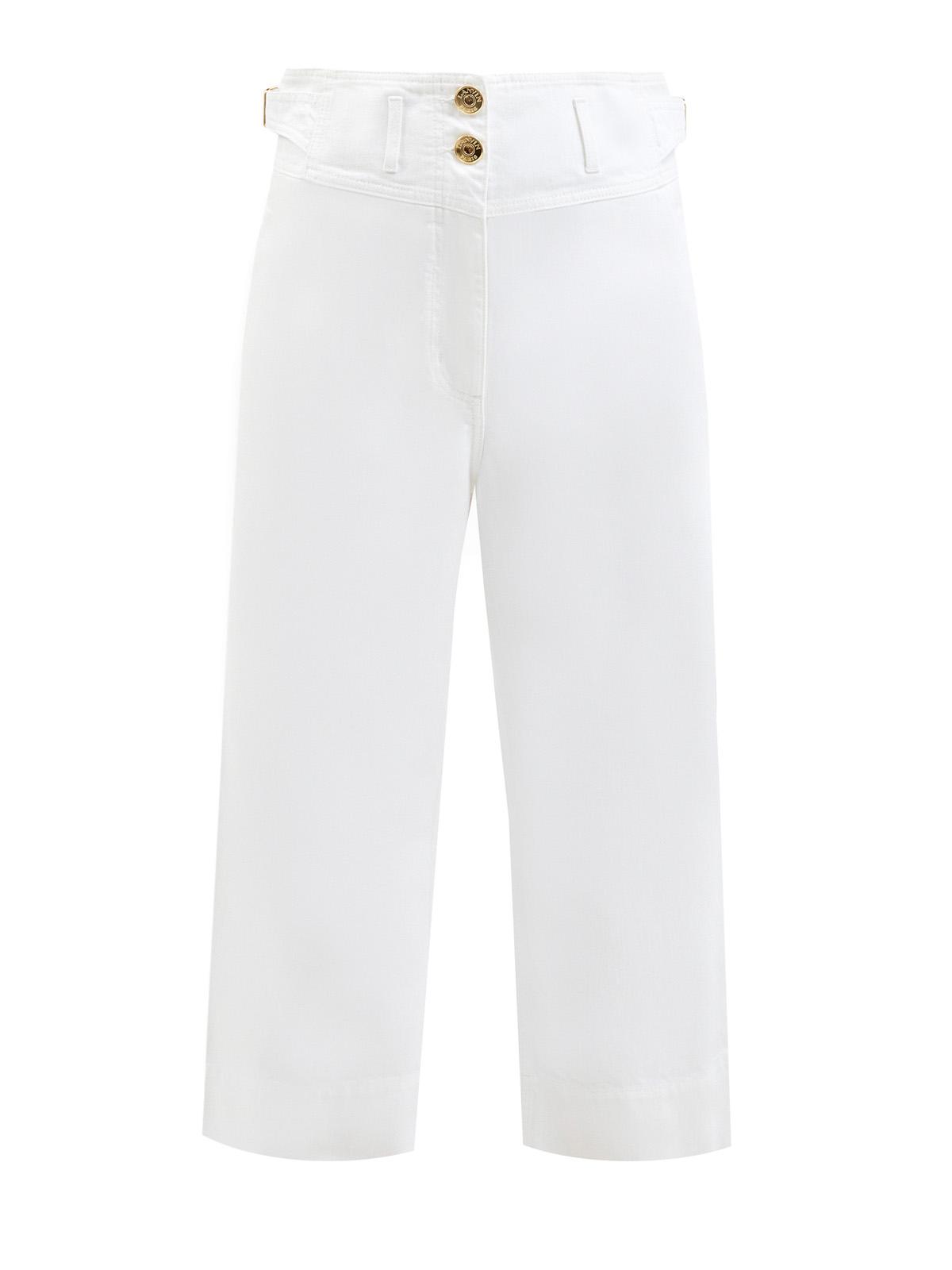Укороченные джинсы из денима с золотистой фурнитурой