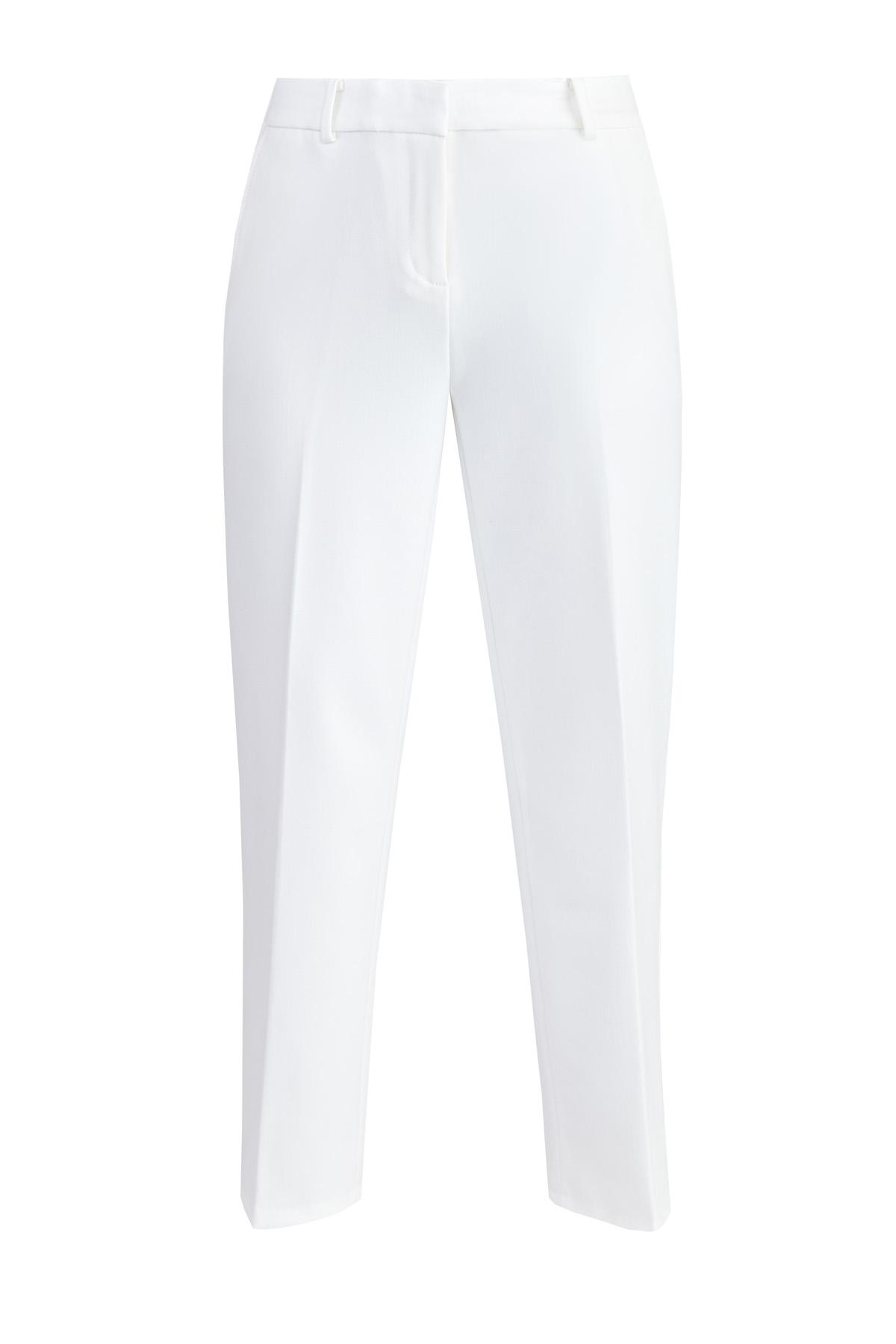 Прямые брюки длины ⅞ из плотной костюмной ткани фото