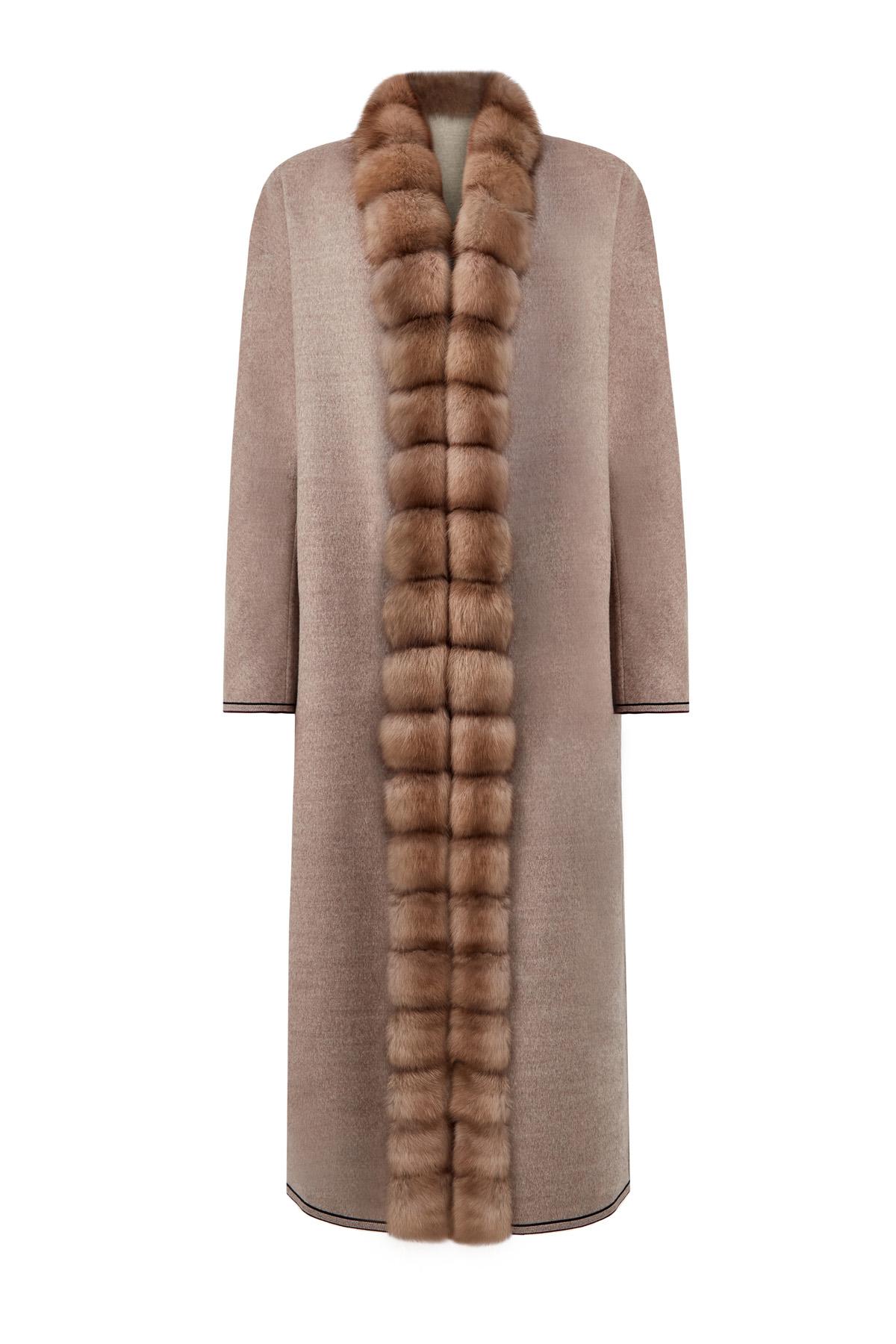 Пальто-макси из шерсти и кашемира с мехом куницы фото