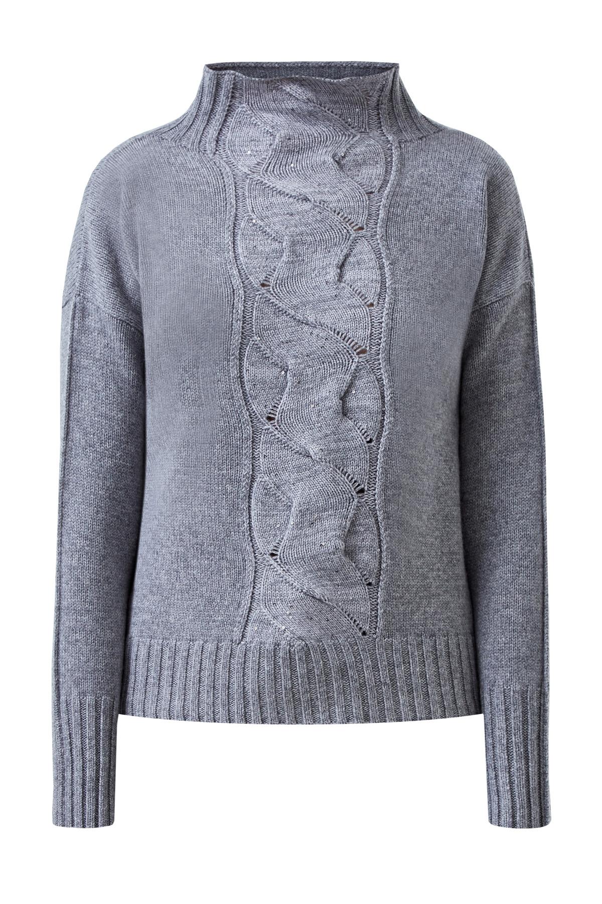 Шерстяной свитер с объемным узором и пайетками фото