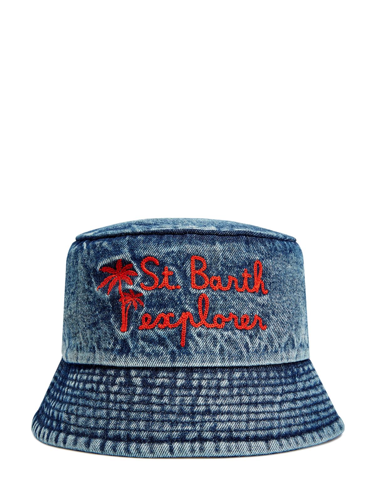 Шляпа из хлопкового денима с эффектом кислотной стирки