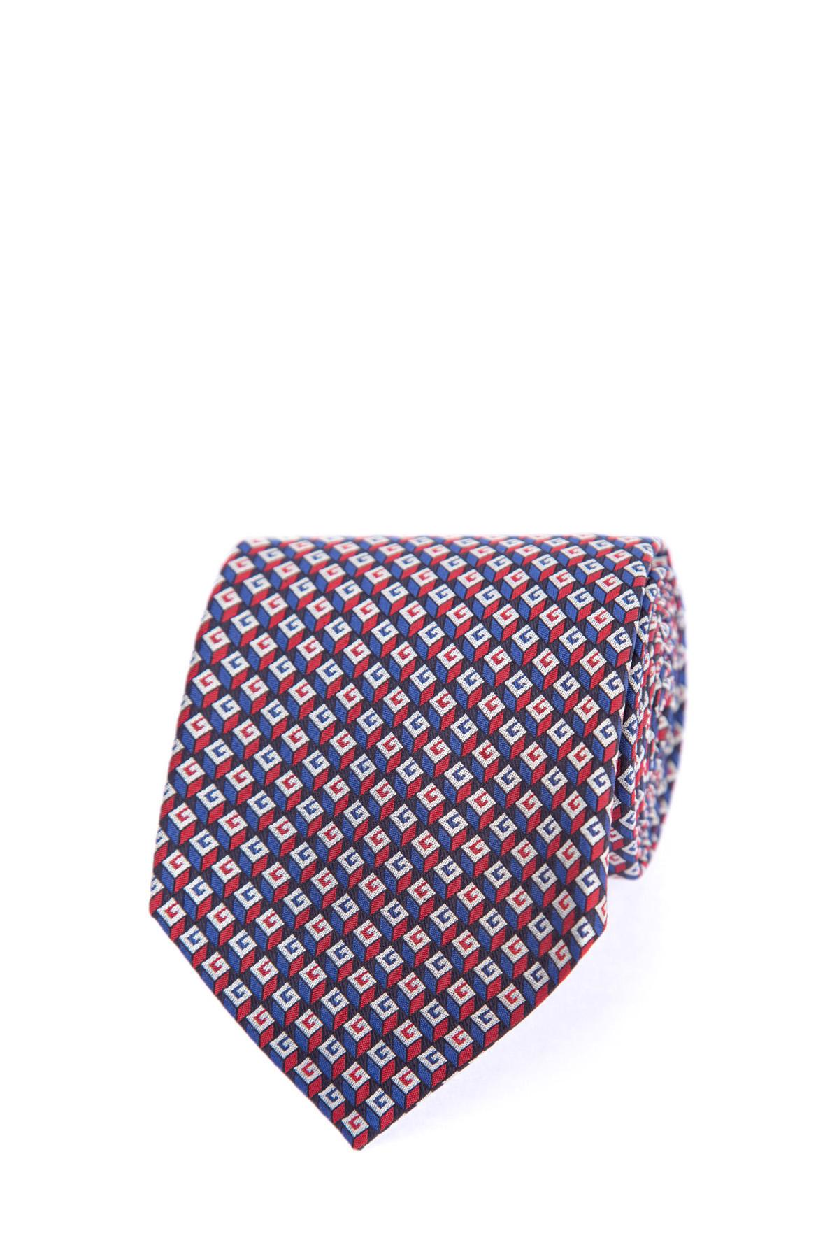 Купить Галстук из жаккардового шелка с повторяющимся геометрическим 3D узором, вдохновленным красочными принтами 70-х годов, GUCCI, Италия, шелк 100%