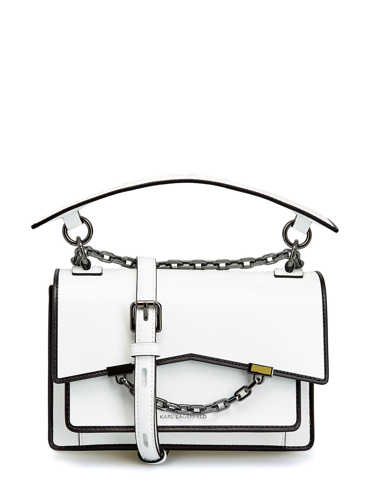 Белая сумка K/Karl Seven из гладкой кожи с контрастной окантовкой