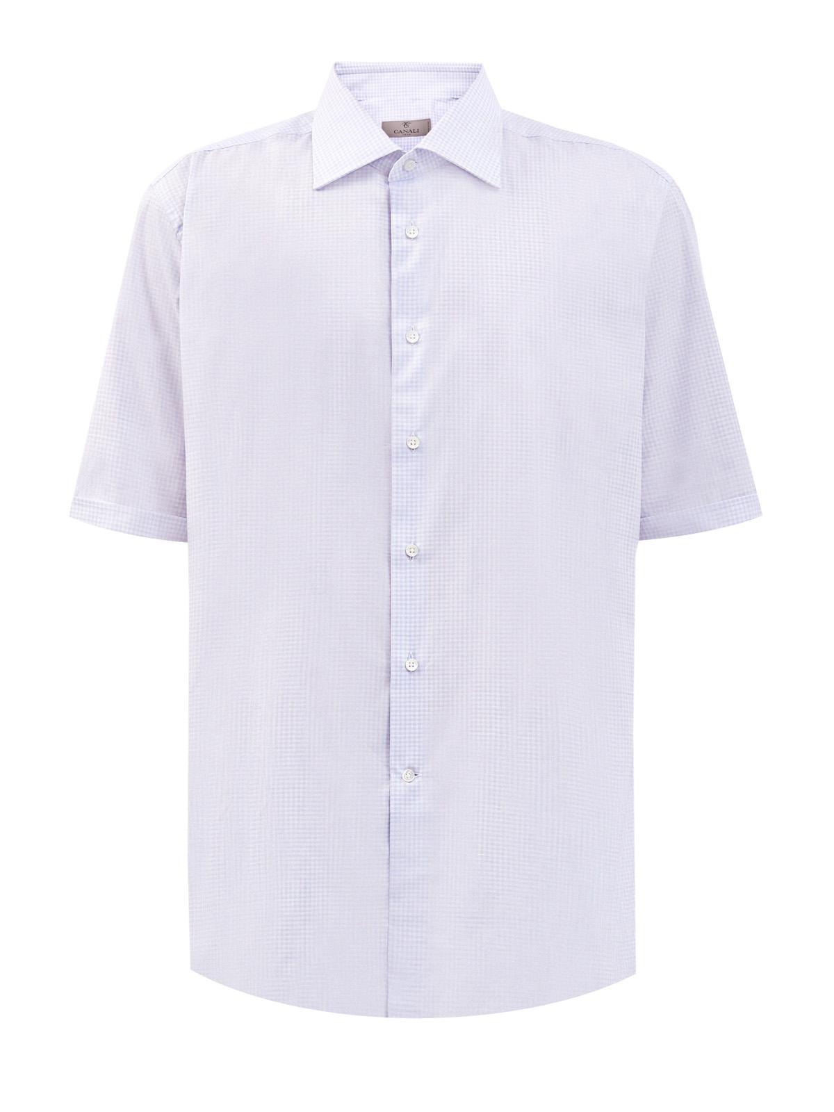 Рубашка из гладкого хлопка с микро-принтом в клетку виши