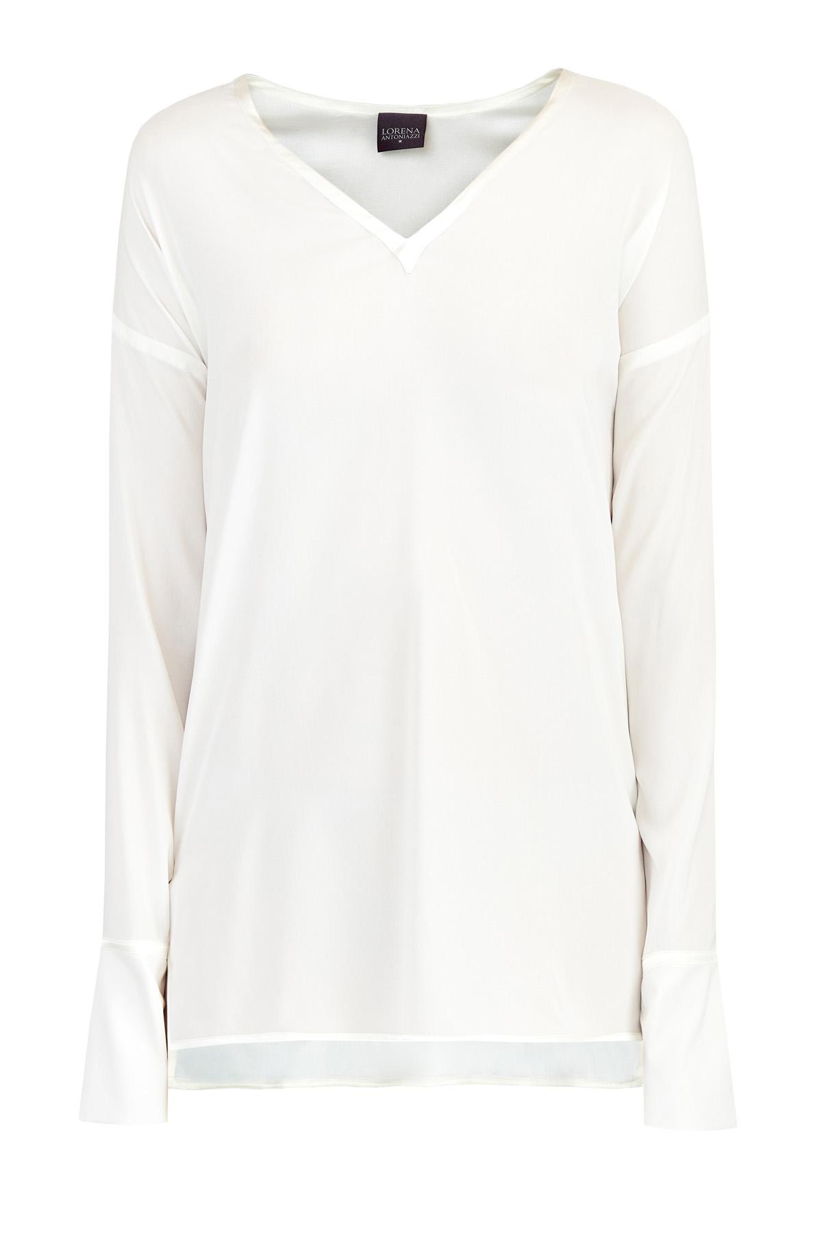 Купить Шелковая блуза oversize-кроя с атласной отделкой, LORENA ANTONIAZZI, Италия, шелк 96%, эластан 4%