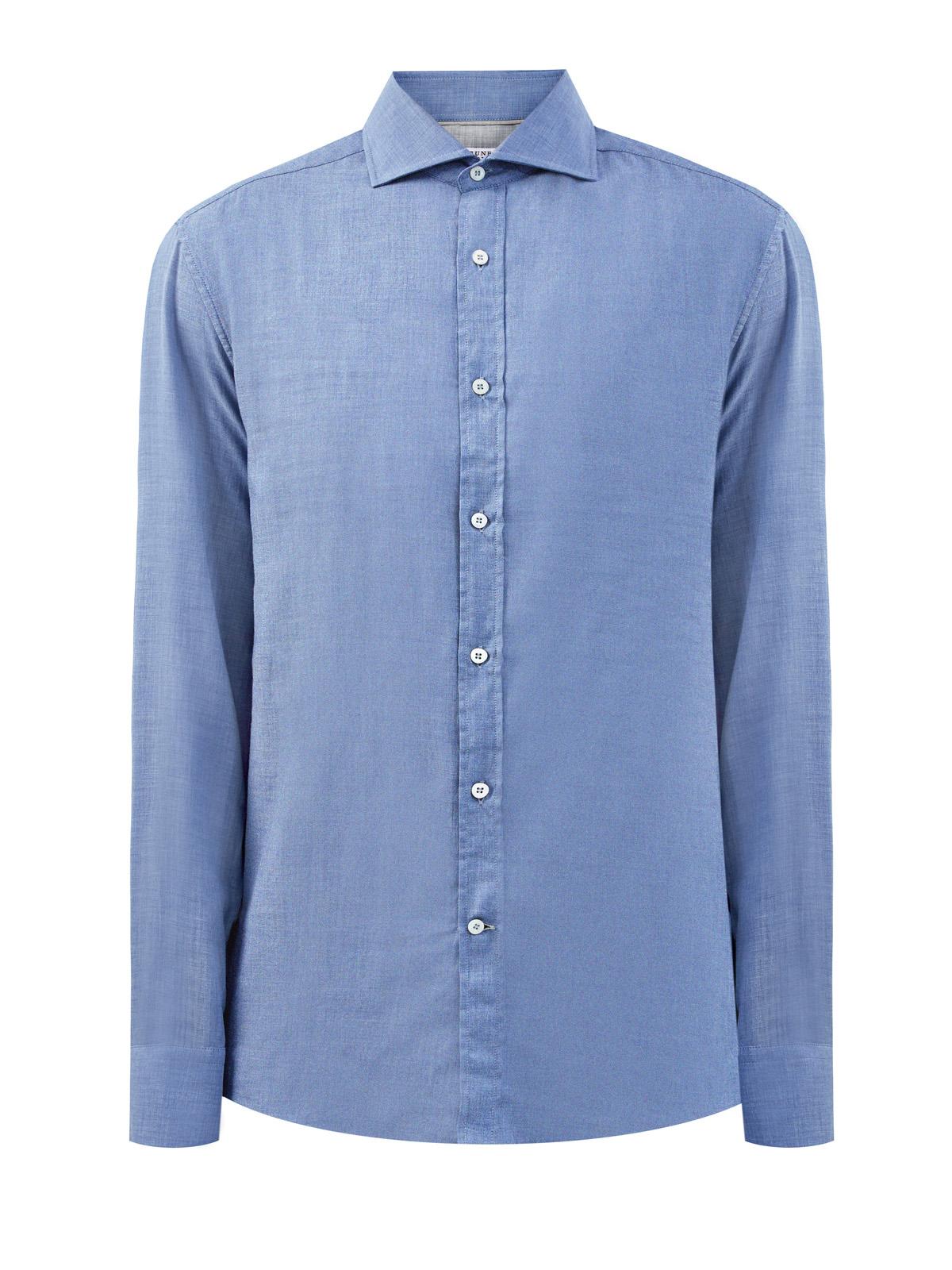 Приталенная рубашка из хлопковой саржи