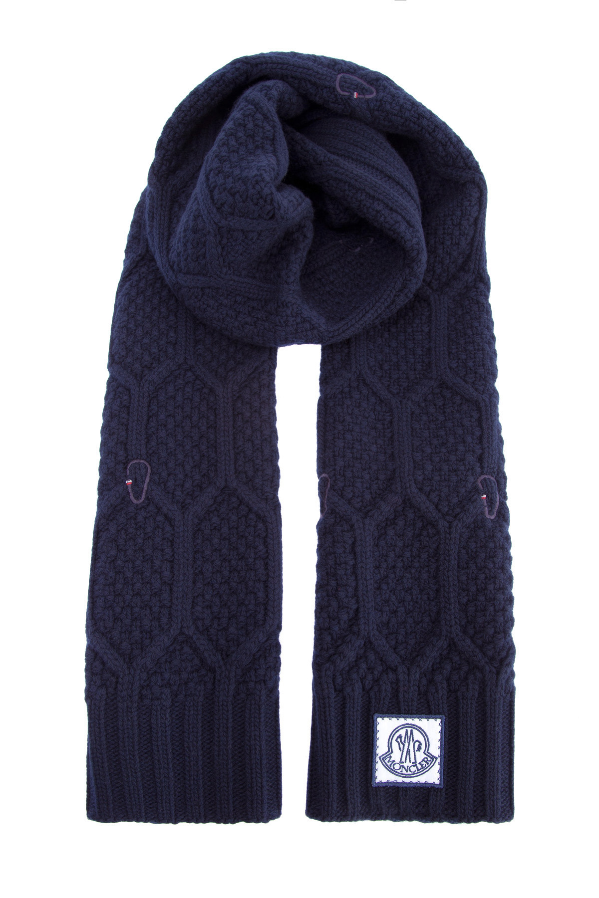Шерстяной шарф узорной вязки с вышитым принтом фото