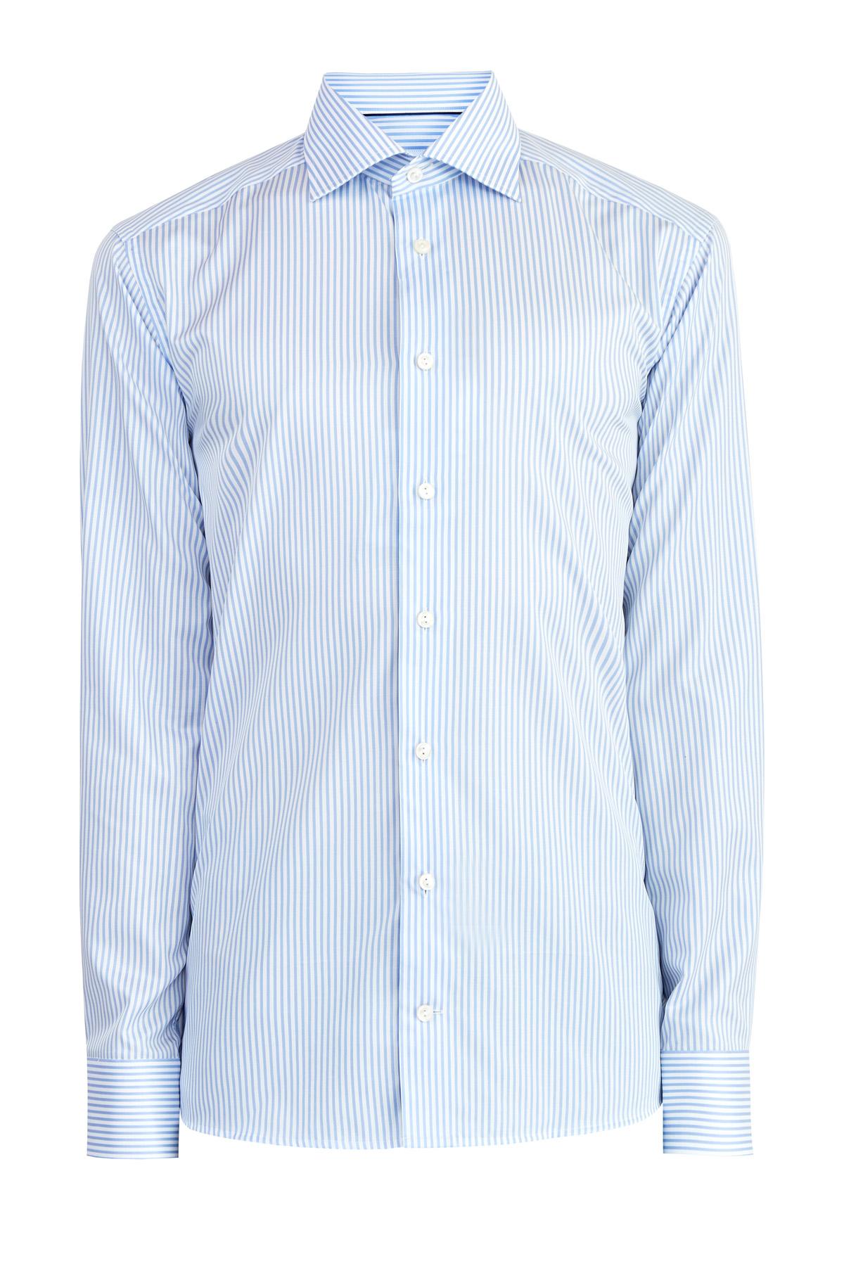 Рубашка силуэта Slim в полоску из хлопка и лиоцелла