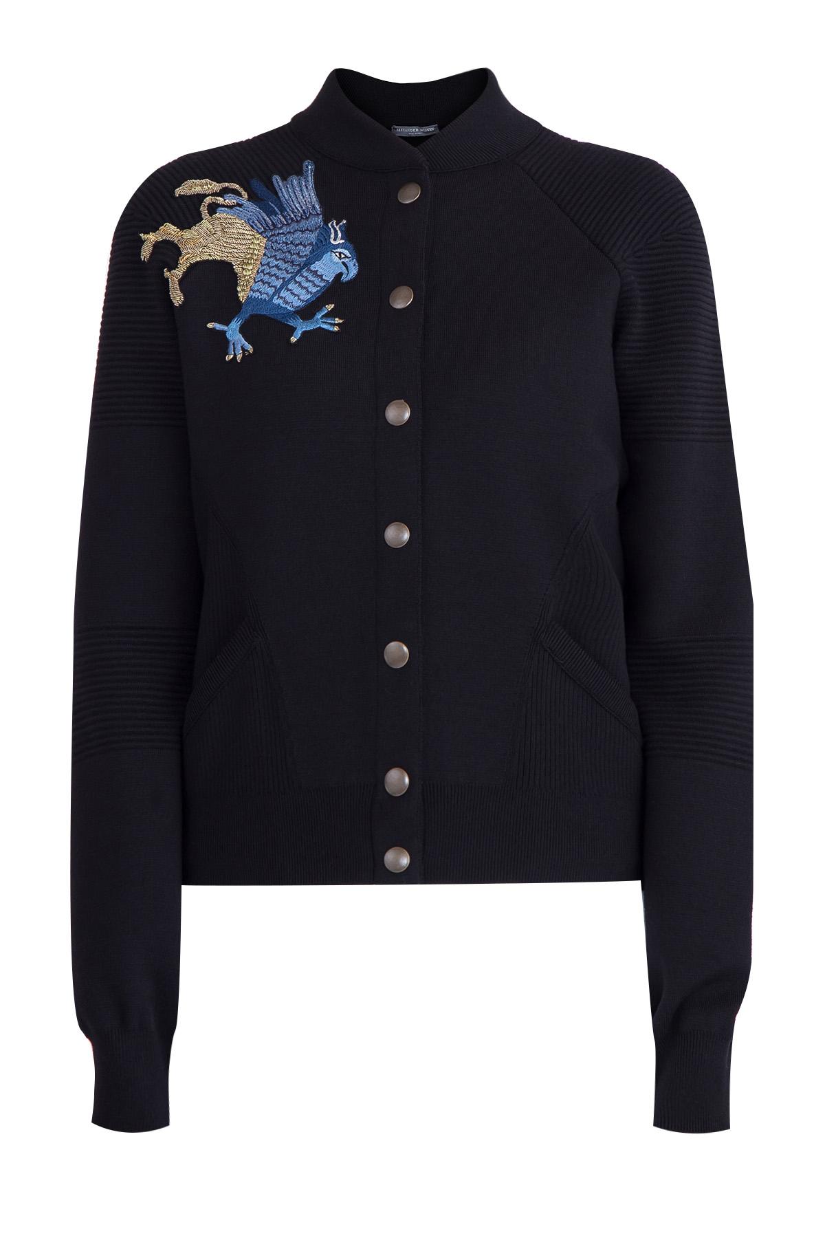 Куртка-бомбер с фирменной средневековой аппликацией в виде грифона фото
