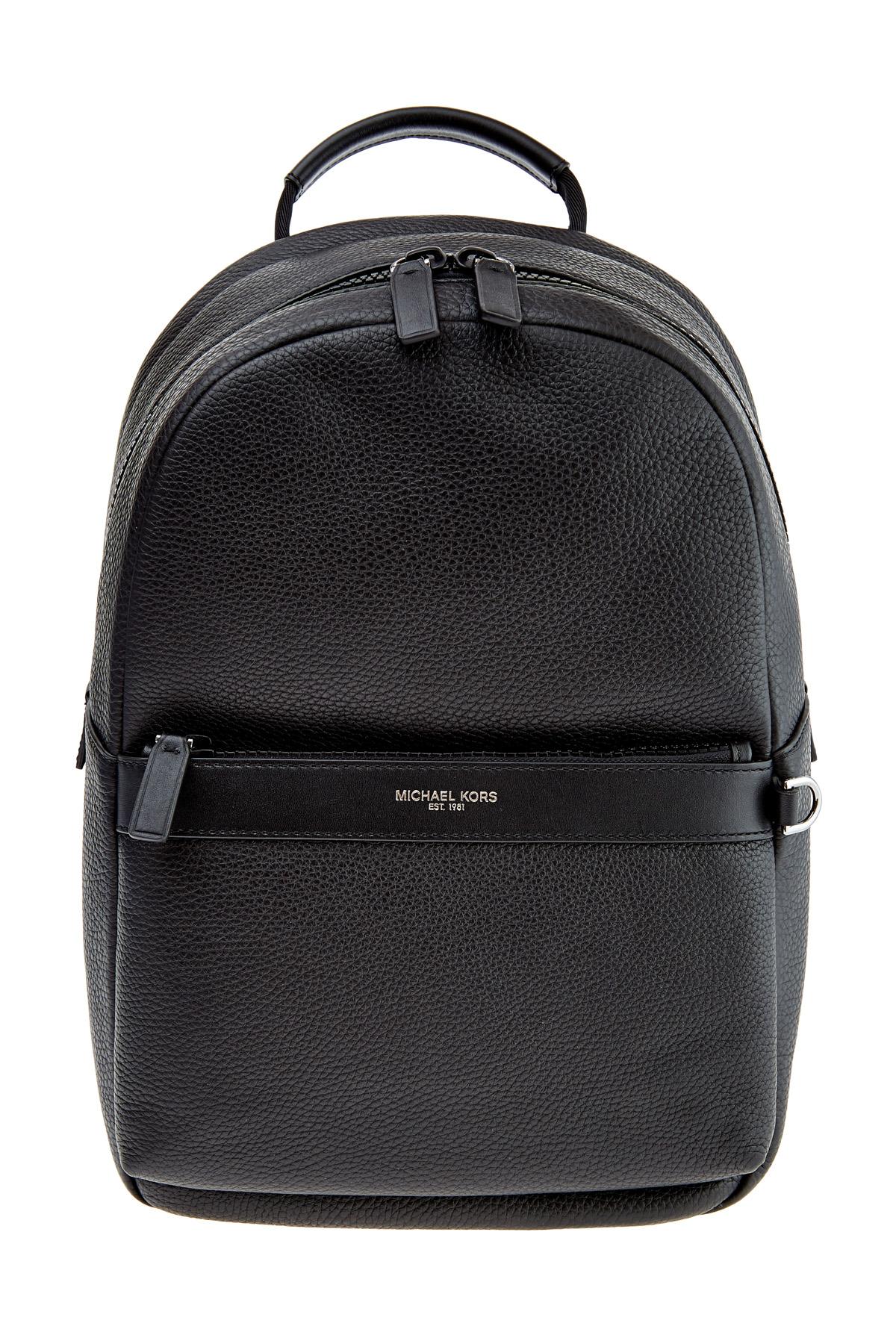 Рюкзак из крупнозернистой кожи с потайным карманом на спинке
