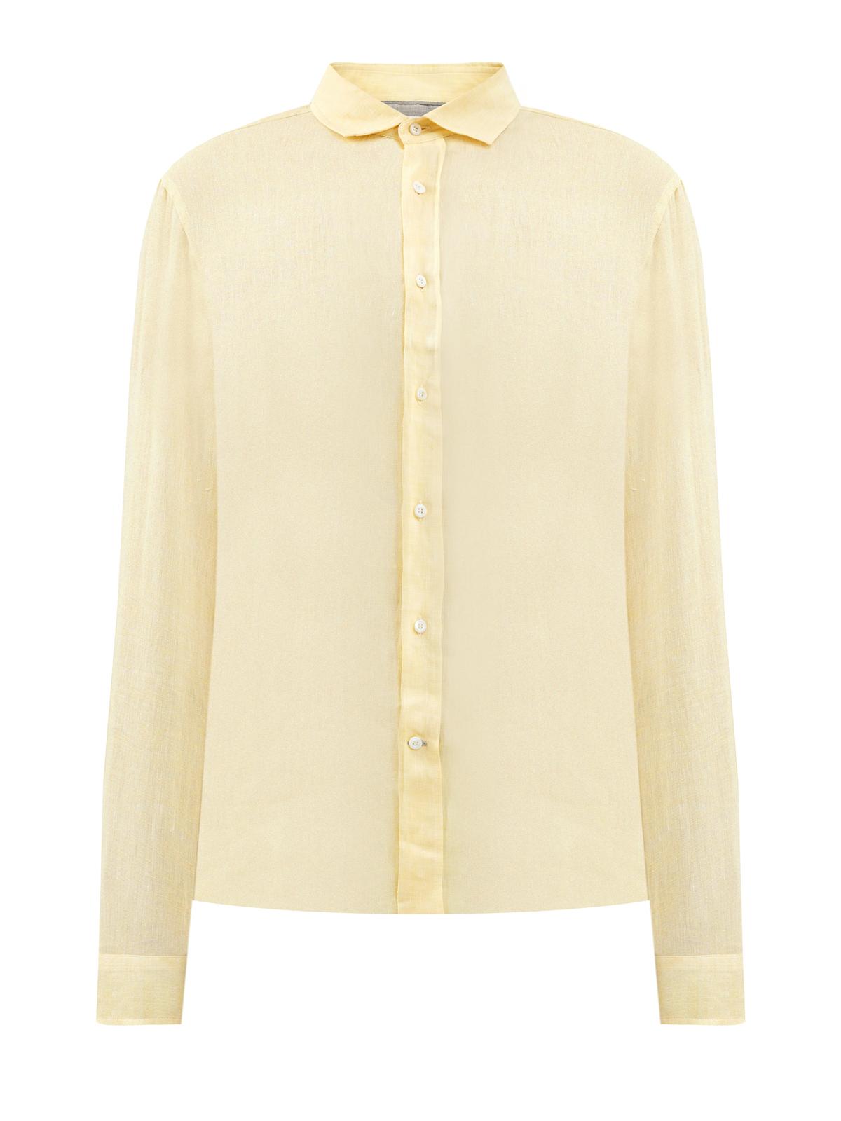 Льняная рубашка с отложным воротом и застежкой на пуговицы