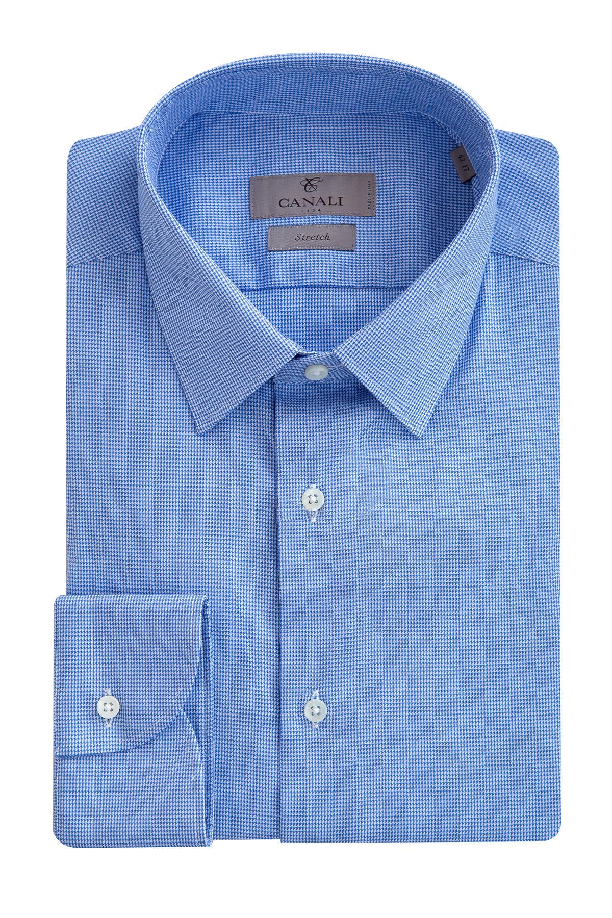 Рубашка из хлопка Stretch с микро-принтом фото
