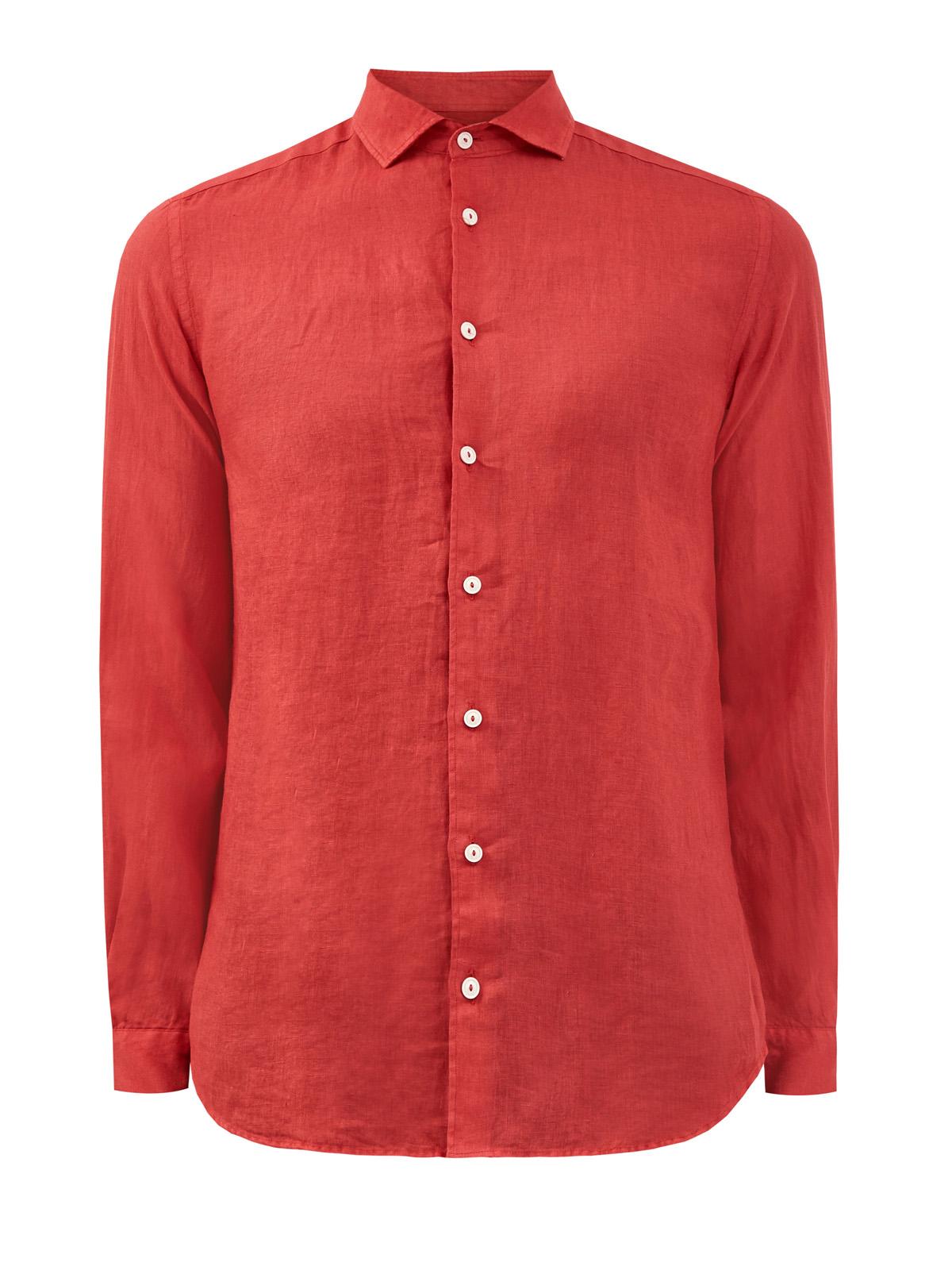 Рубашка из натурального льна в алом оттенке