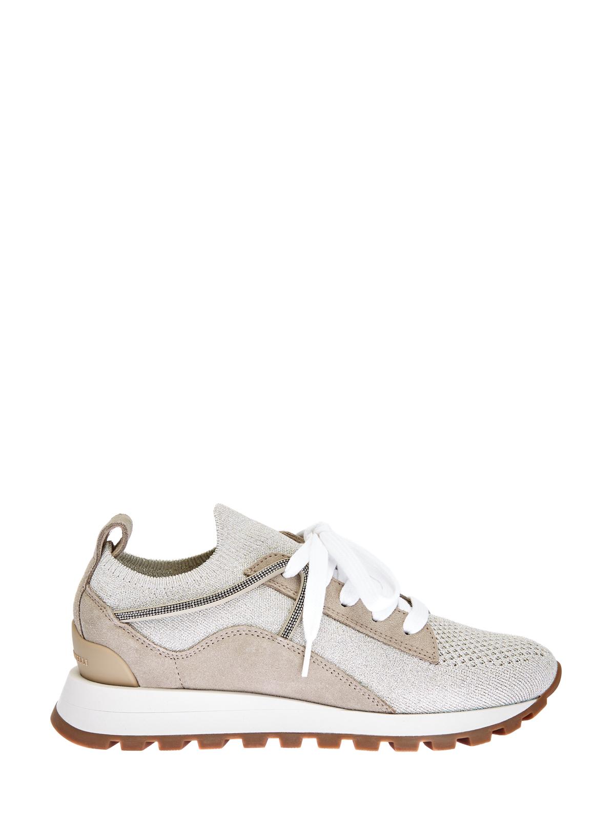 Легкие кроссовки из замши и рипстопа Sparkling с нитью ламе