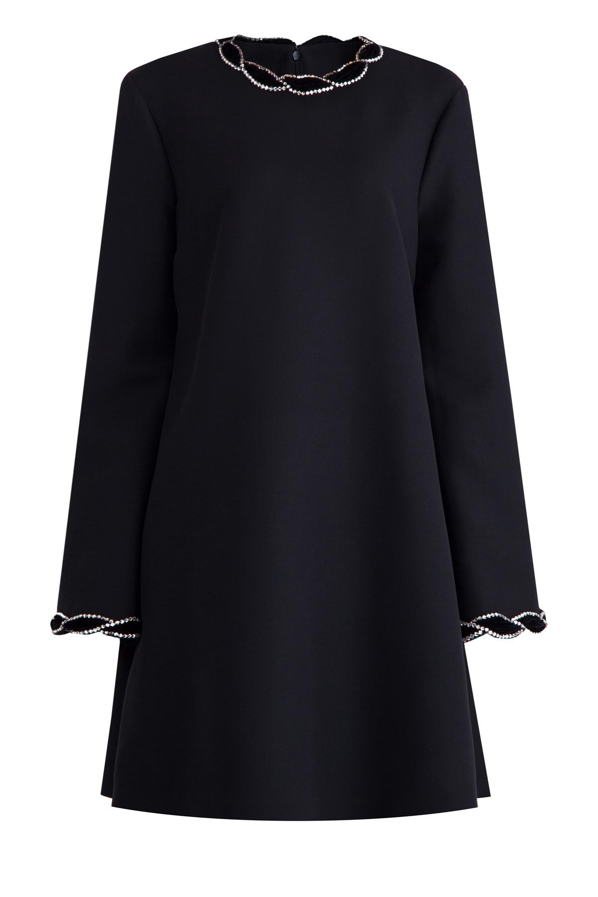 Платье из шерсти и шелка с перекрученной бархатной отделкой фото