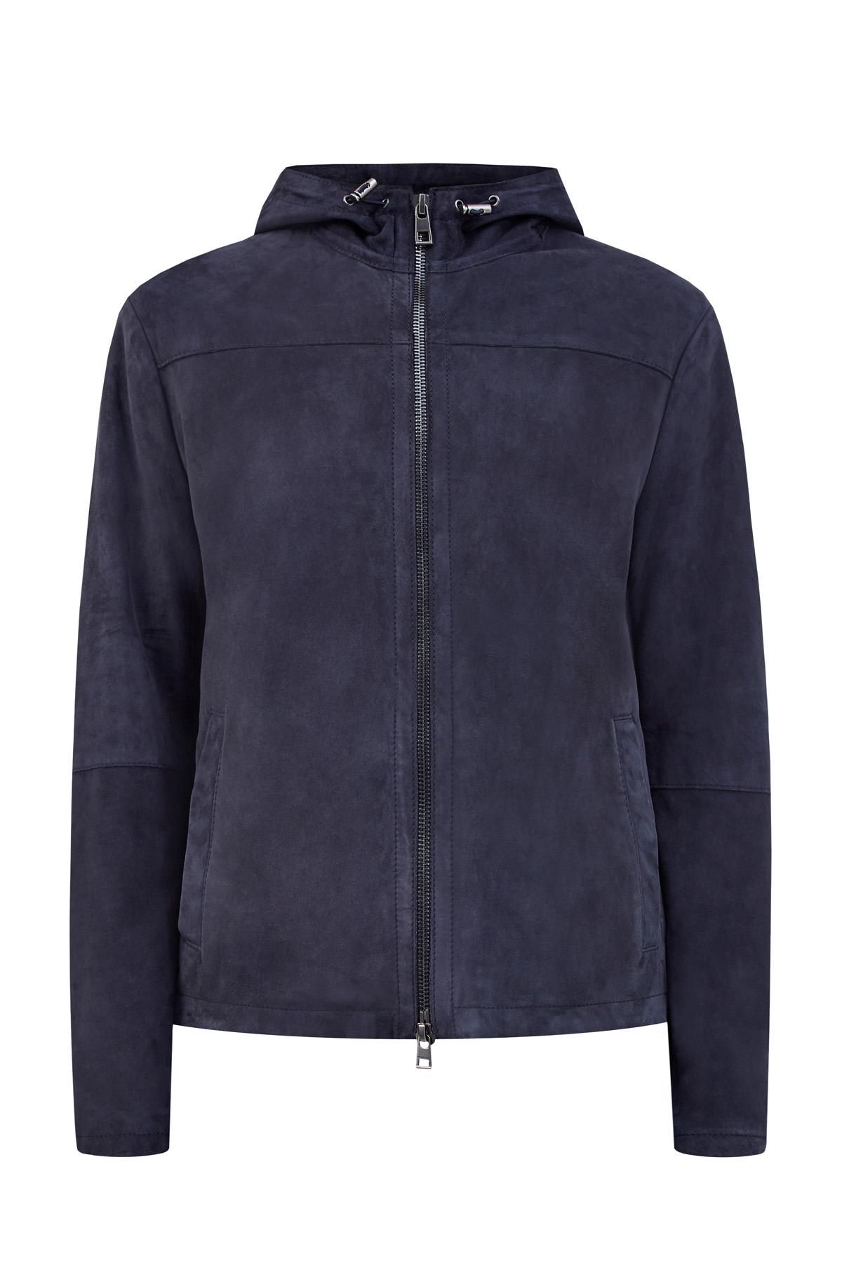 Куртка из мягкой замши с эффектом потертости и фактурными швами фото