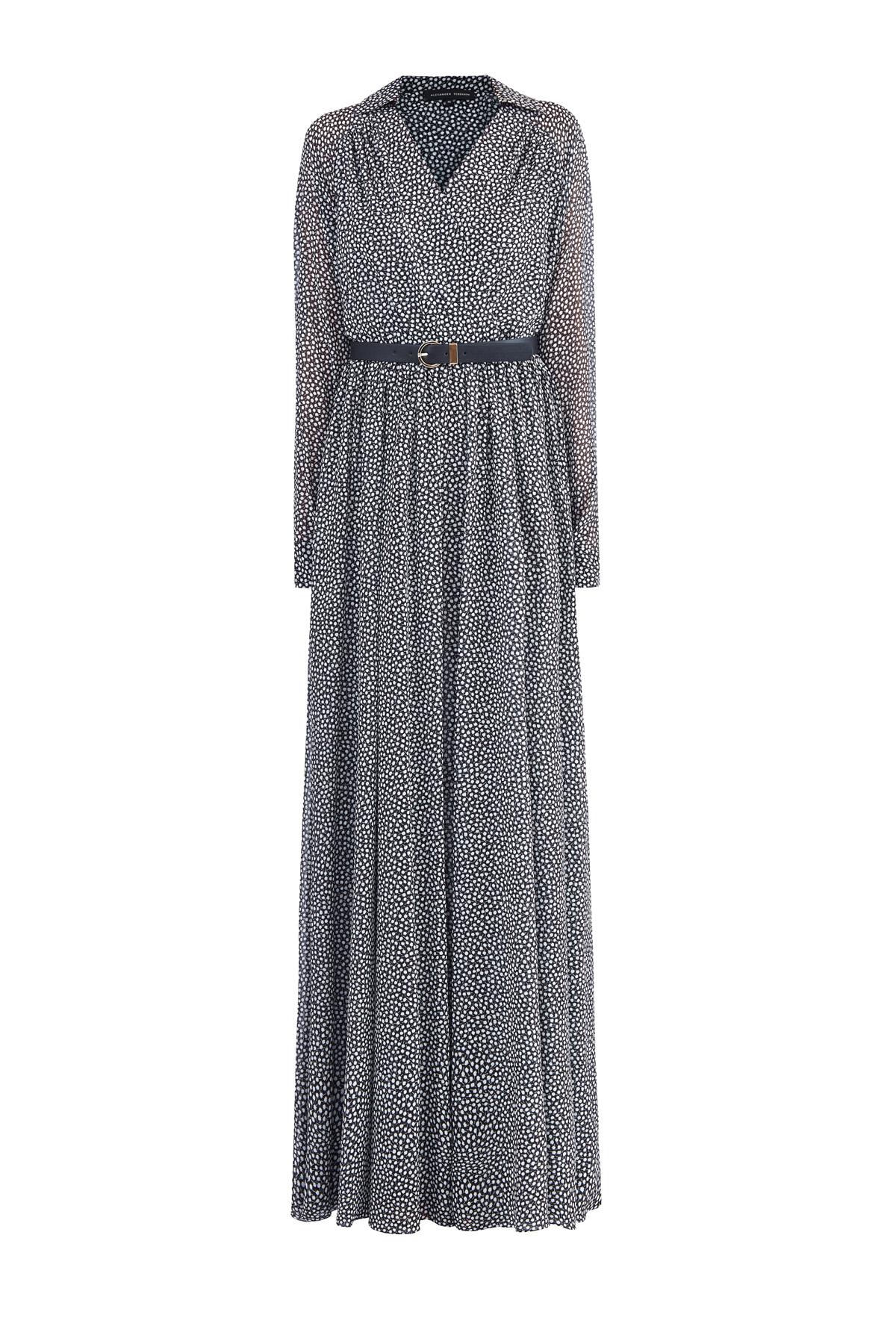 Купить Шелковое платье-макси из шелка с монохромным принтом и ремнем, ALEXANDER TEREKHOV, Россия, шелк 95%, эластан 5%