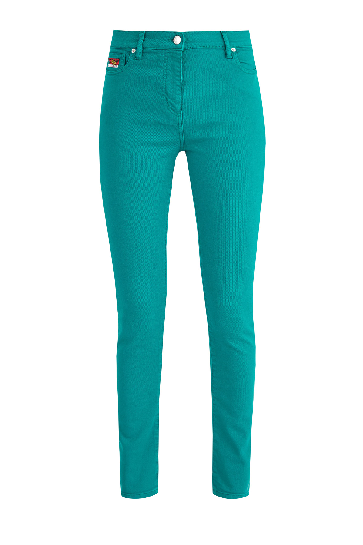 Яркие джинсы-skinny из эластичного денима на высокой посадке