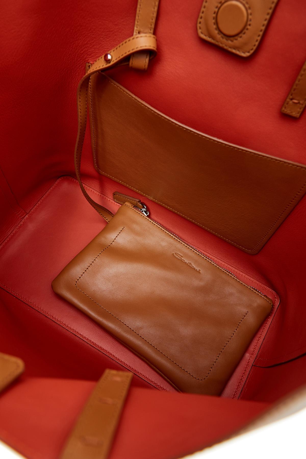 Вместительная сумка-тоут из матовой гладкой кожи с брелоком-кистью SANTONI 1822ba c70 Фото 7