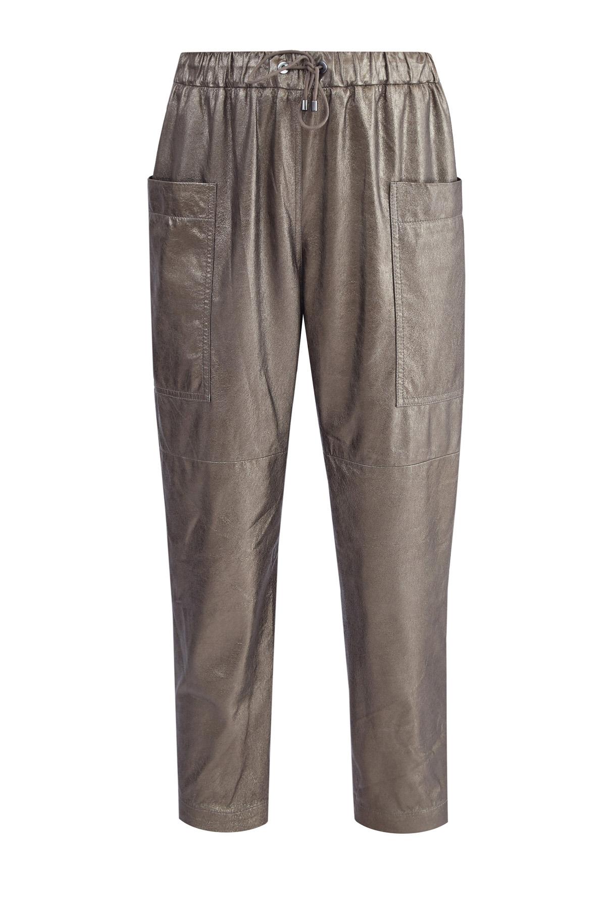Укороченные брюки из кожи с металлизированным покрытием фото
