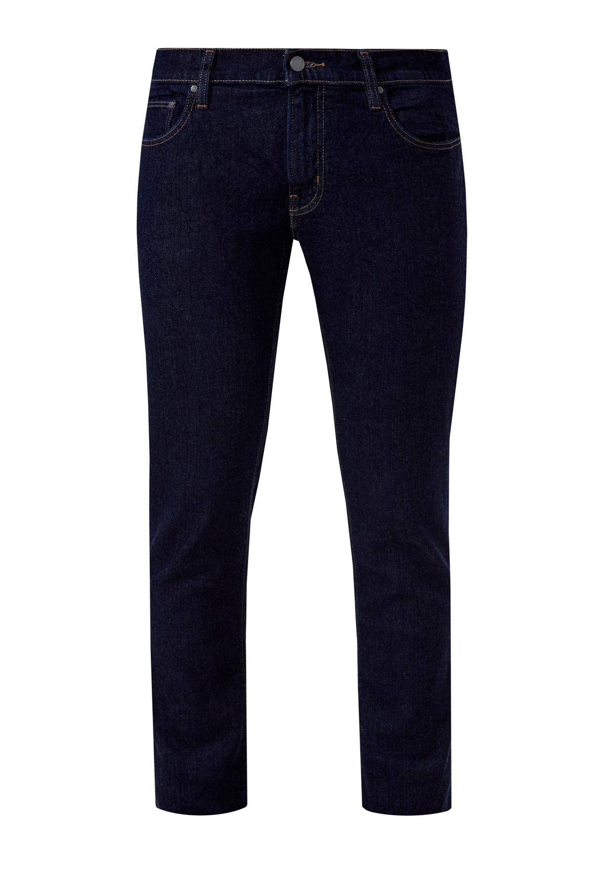 Хлопковые джинсы-slim оттенка индиго фото