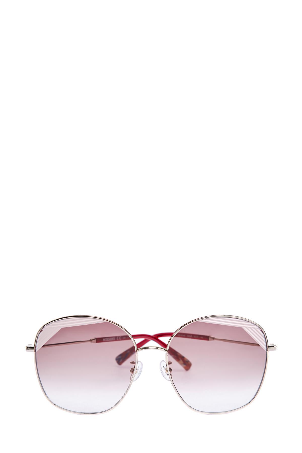 Солнцезащитные очки-oversize в тонкой металлической оправе фото