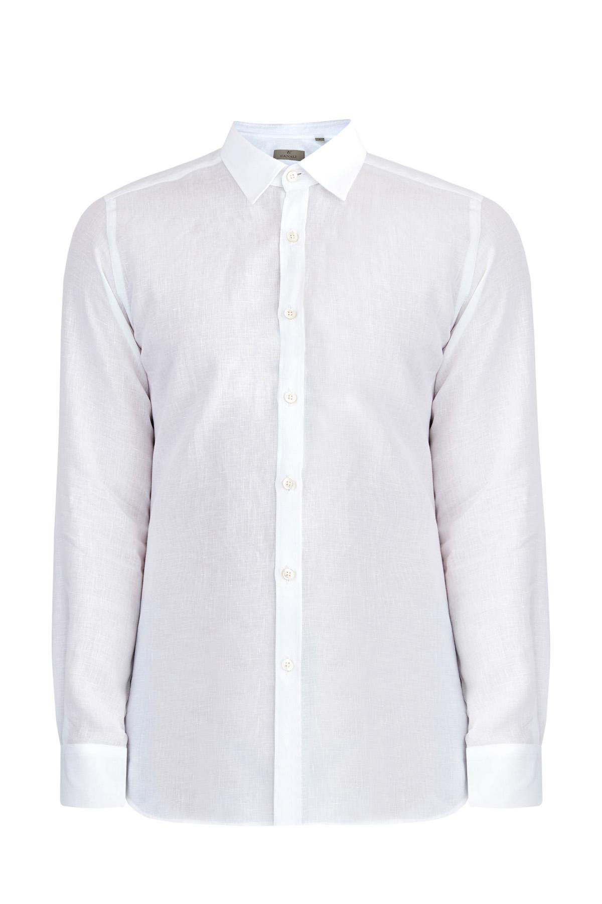 Белая льняная рубашка в классическом стиле
