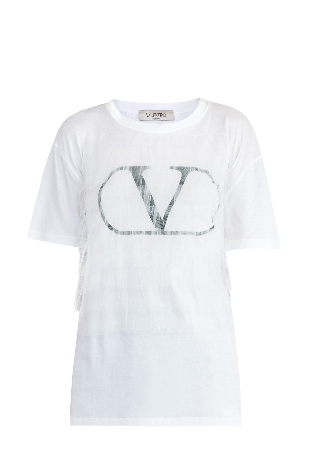 Oversize-футболка из хлопка с аппликацией и декором из вуали в тон
