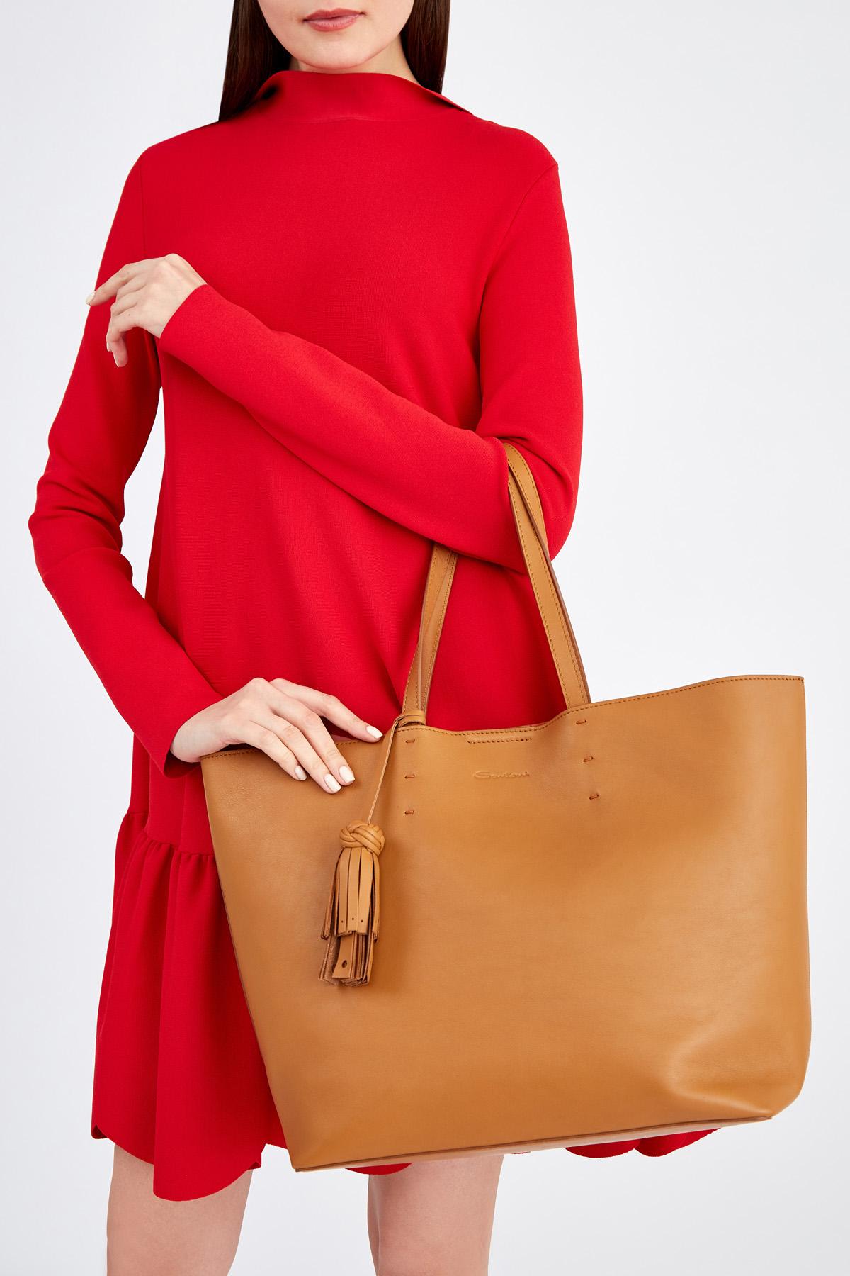 Вместительная сумка-тоут из матовой гладкой кожи с брелоком-кистью SANTONI 1822ba c70 Фото 2
