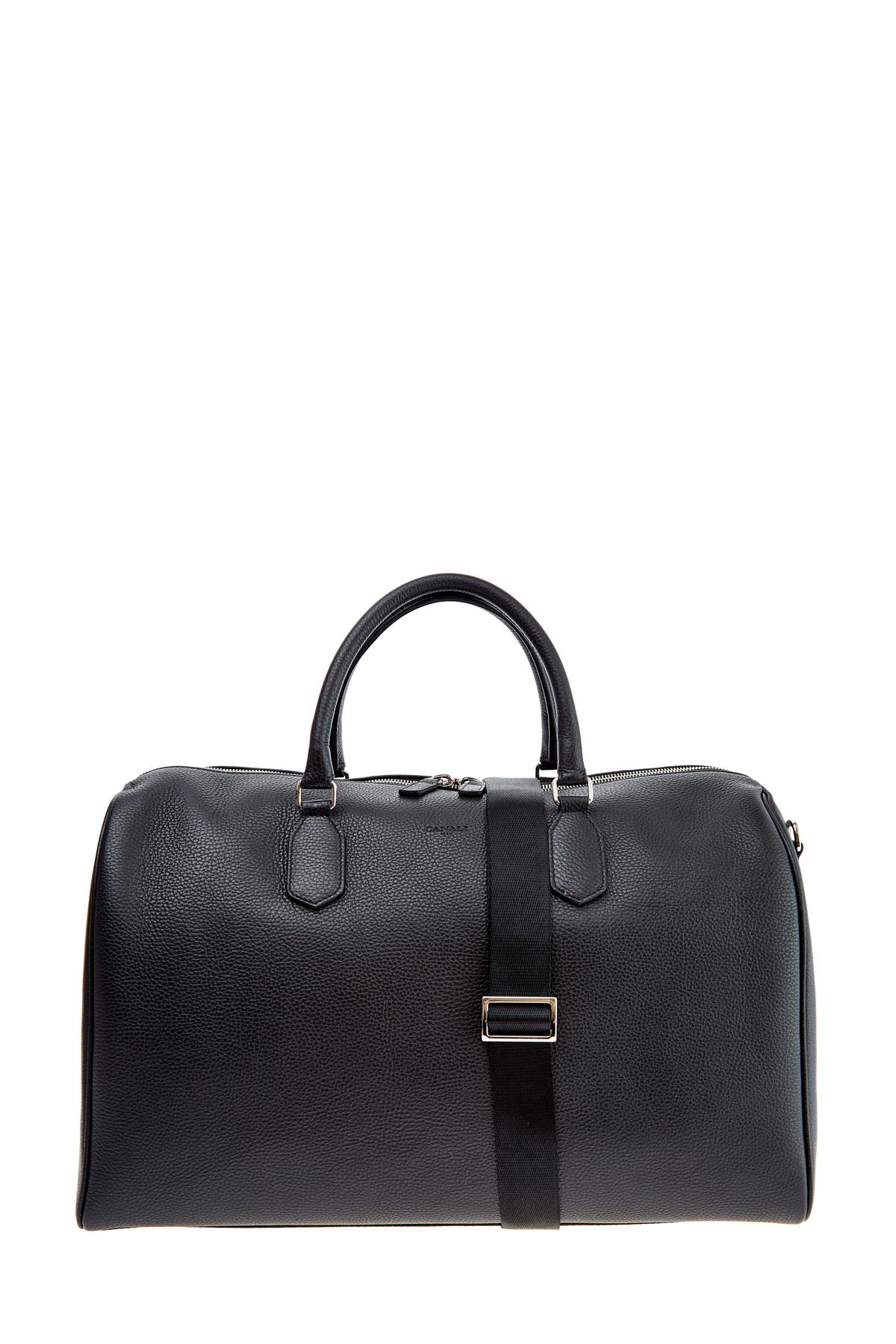 Купить Вместительная дорожная сумка из зернистой кожи со съемным ремнем, CANALI, Италия, кожа 100%