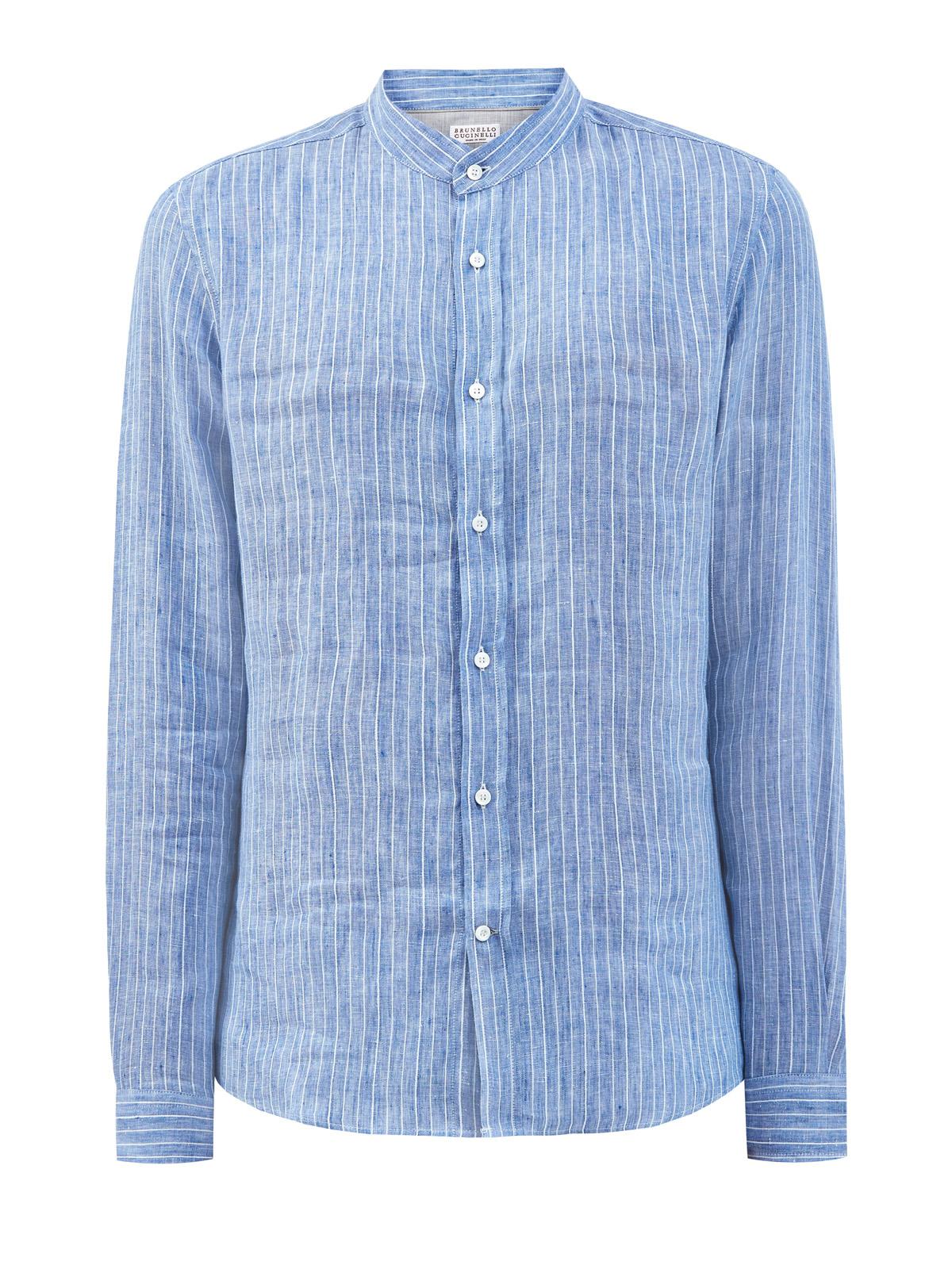 Рубашка ручной работы из льняной ткани в полоску