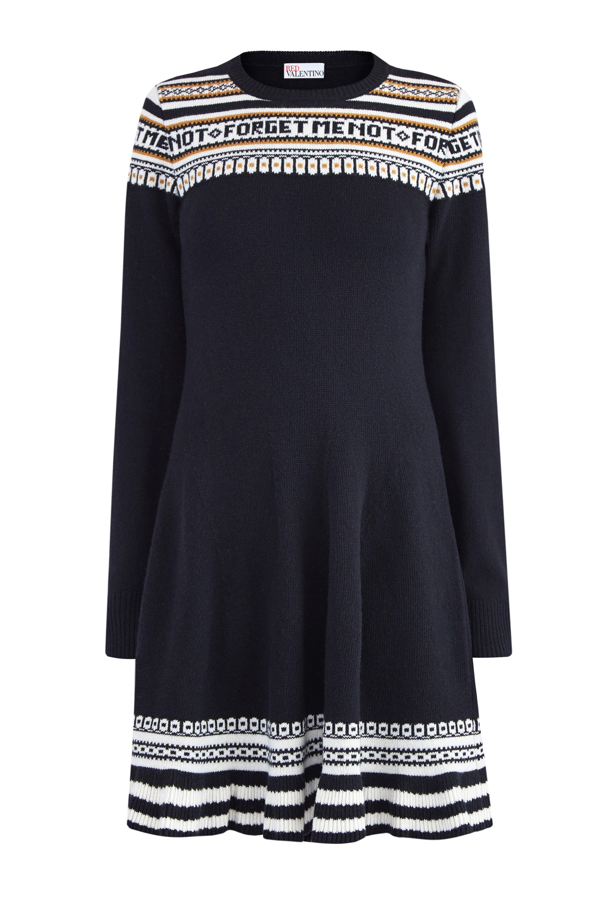 60c811f0f49 Женское платье из шерстяной пряжи с узором в стиле норвежского жаккарда REDVALENTINO  трикотажные